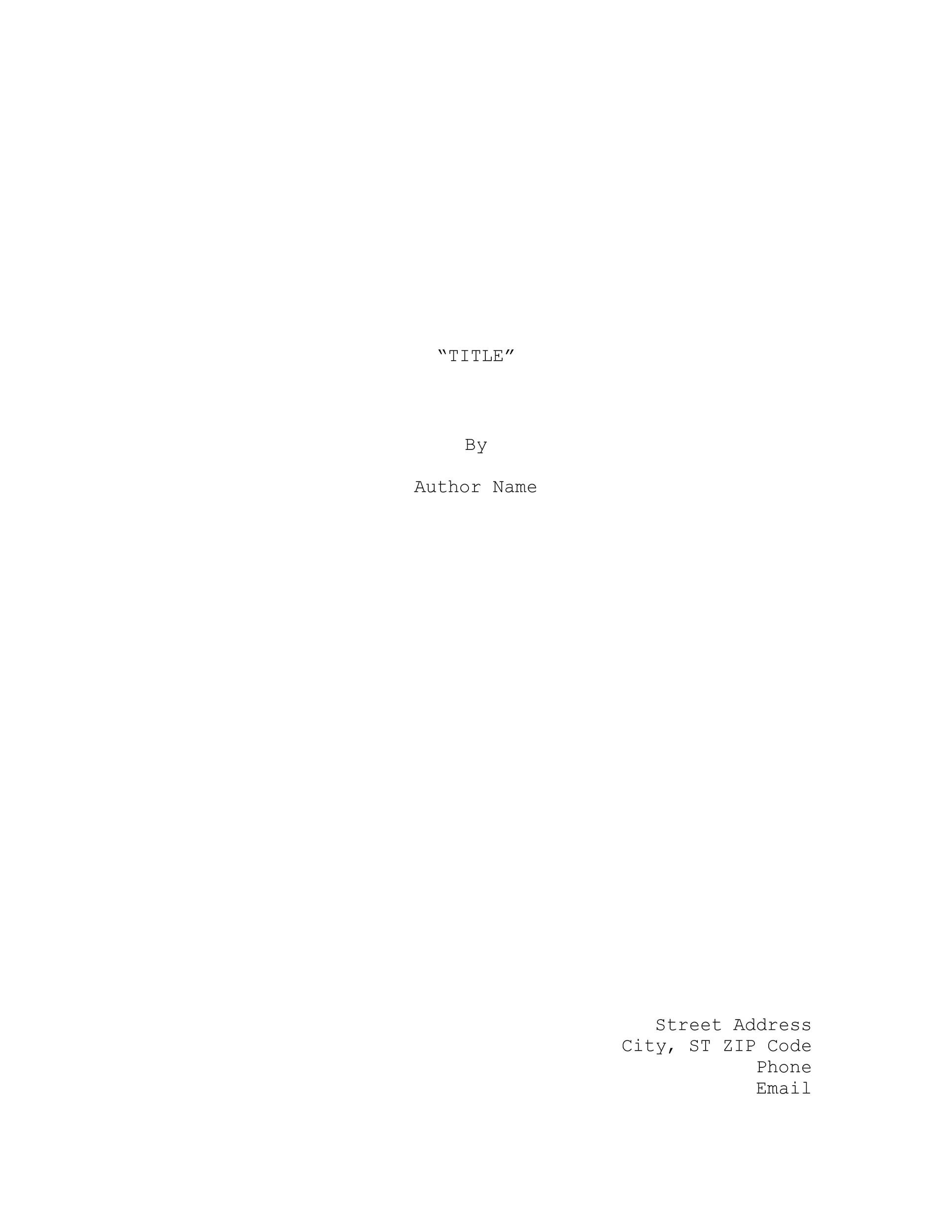 Free Screenplay Template 22