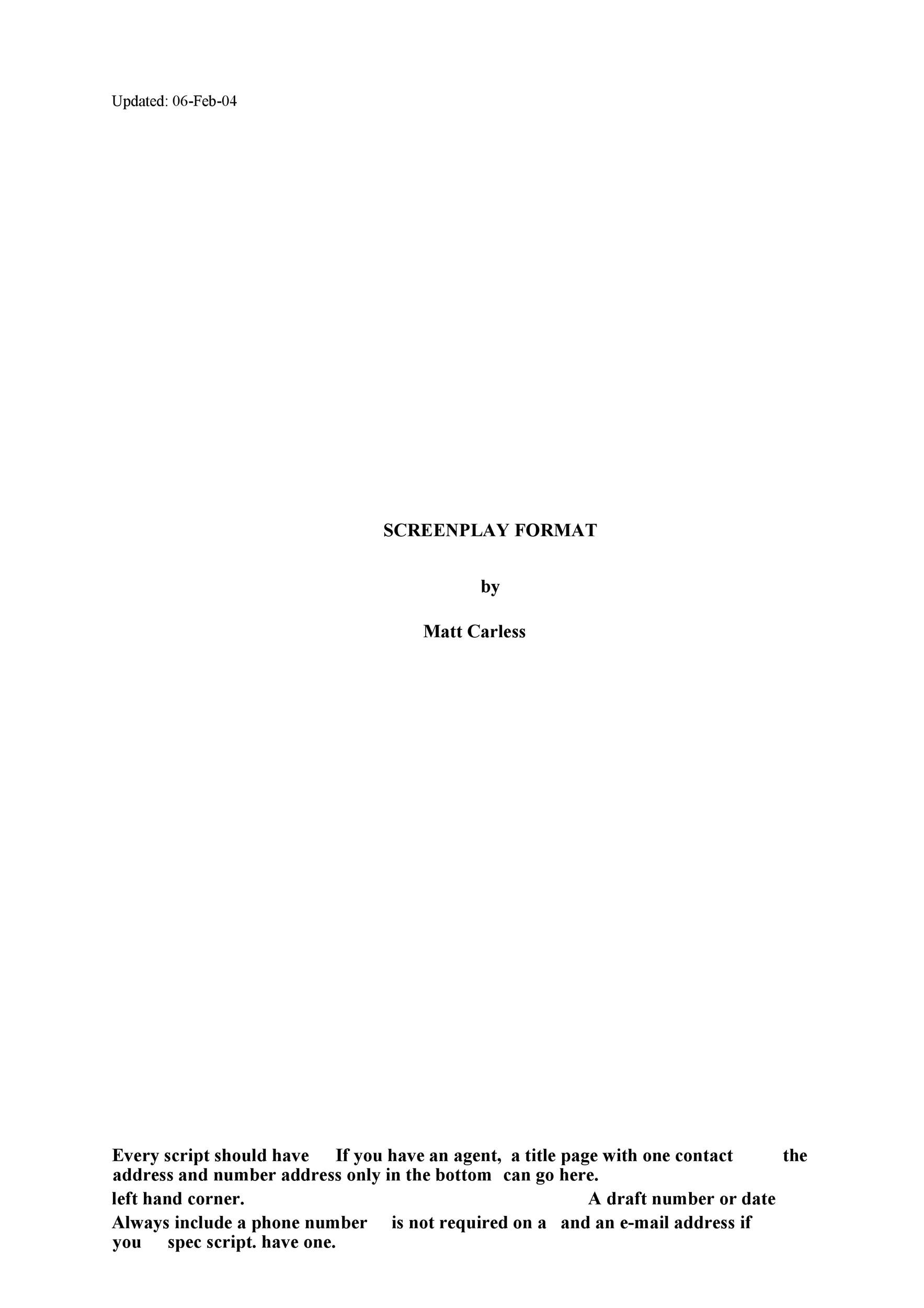 Free Screenplay Template 24
