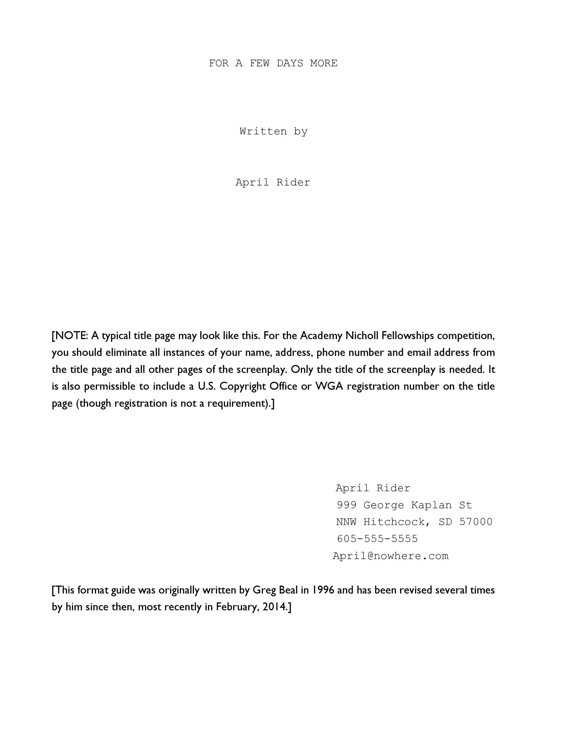 Free Screenplay Template 36