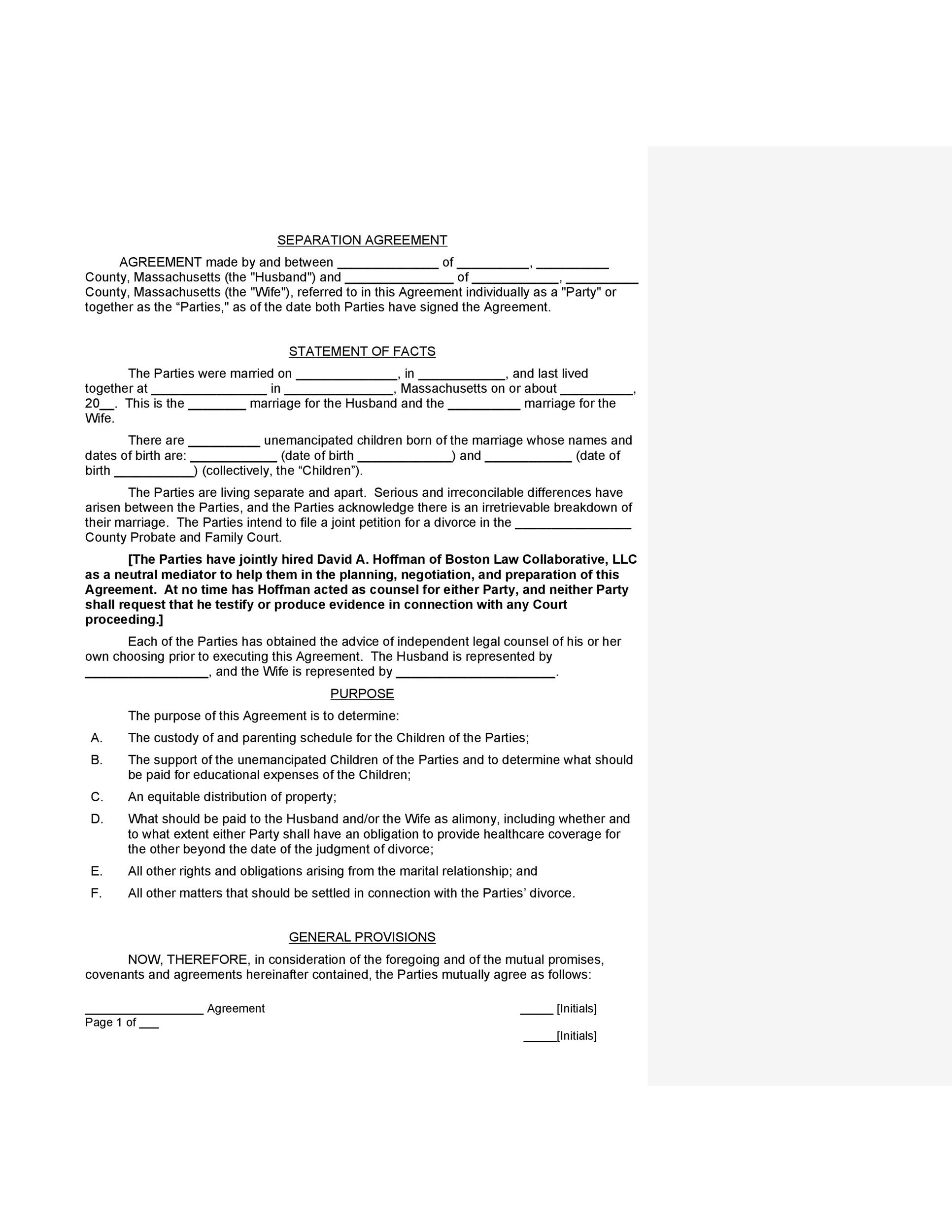 Free Separation Agreement Template 01