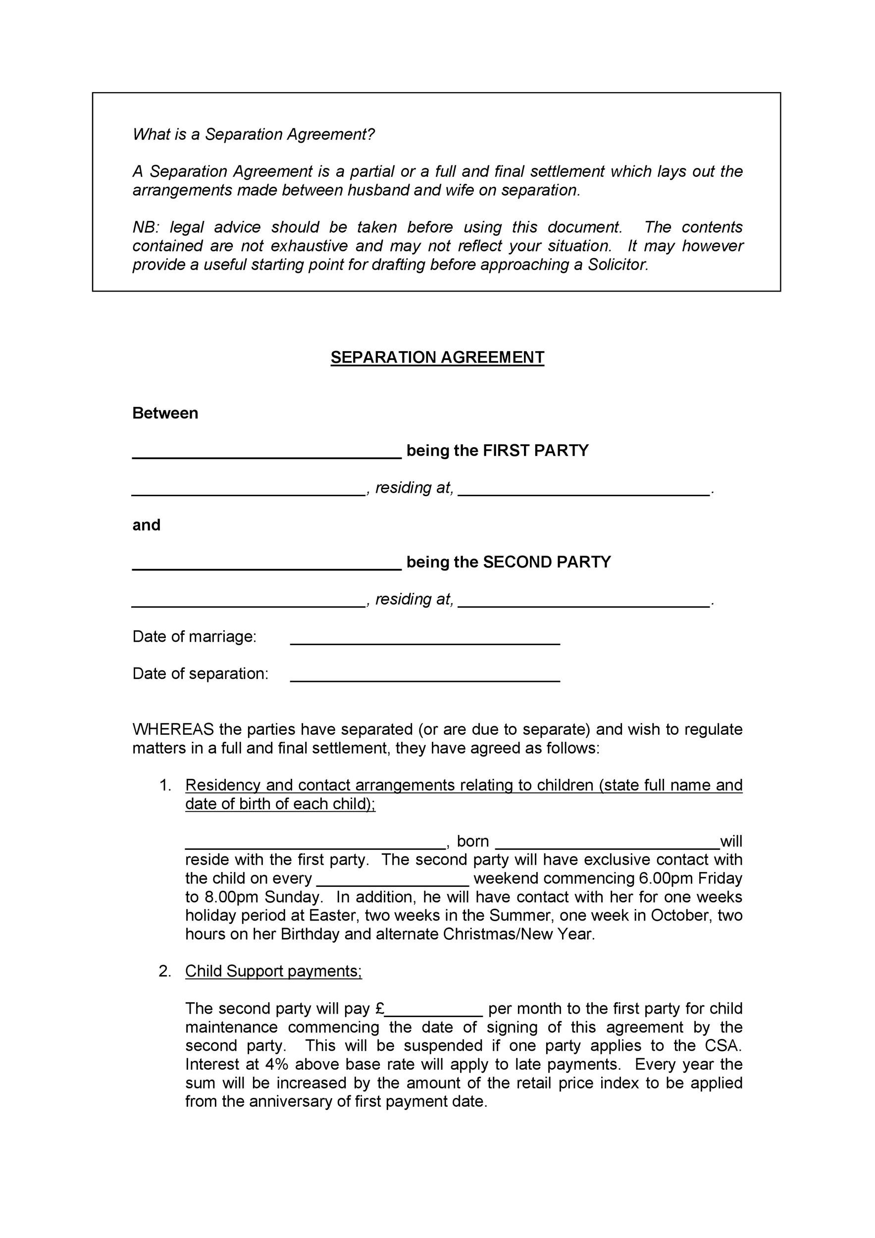Free Separation Agreement Template 02
