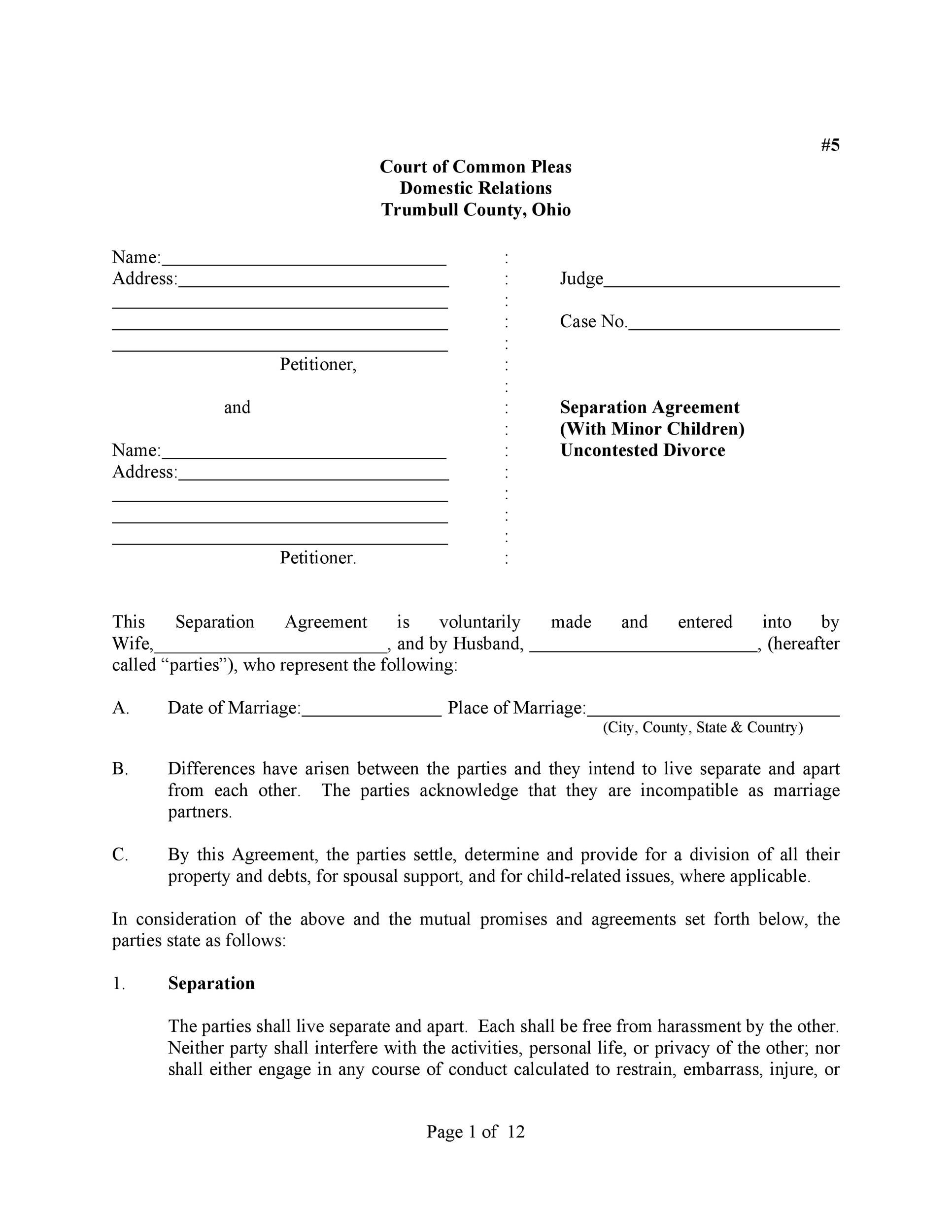 Free Separation Agreement Template 03