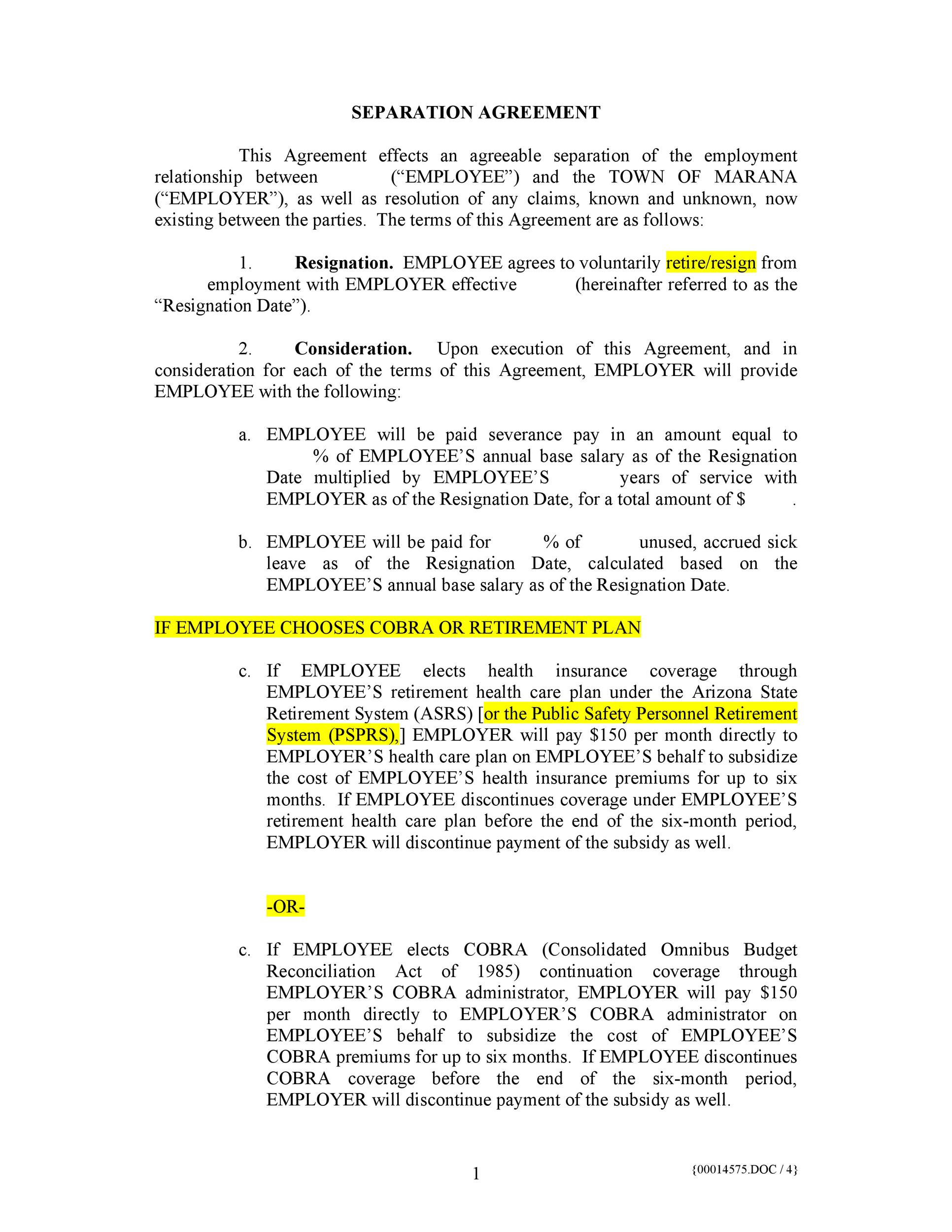 Free Separation Agreement Template 04