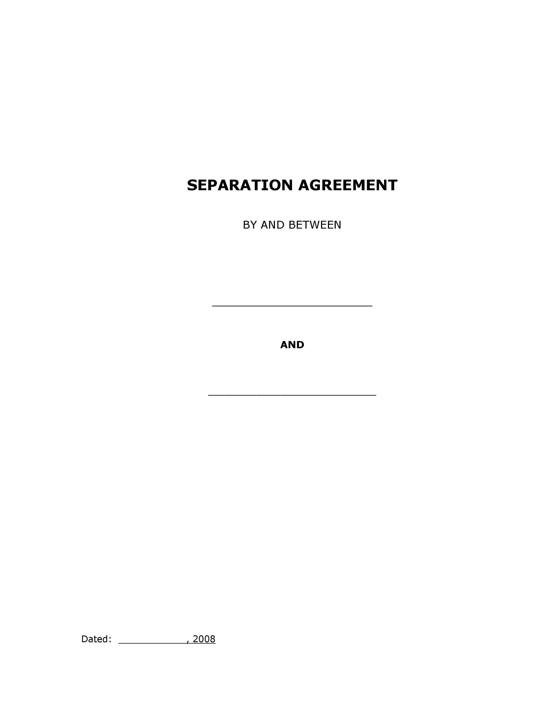 43 Official Separation Agreement Templates Letters Forms