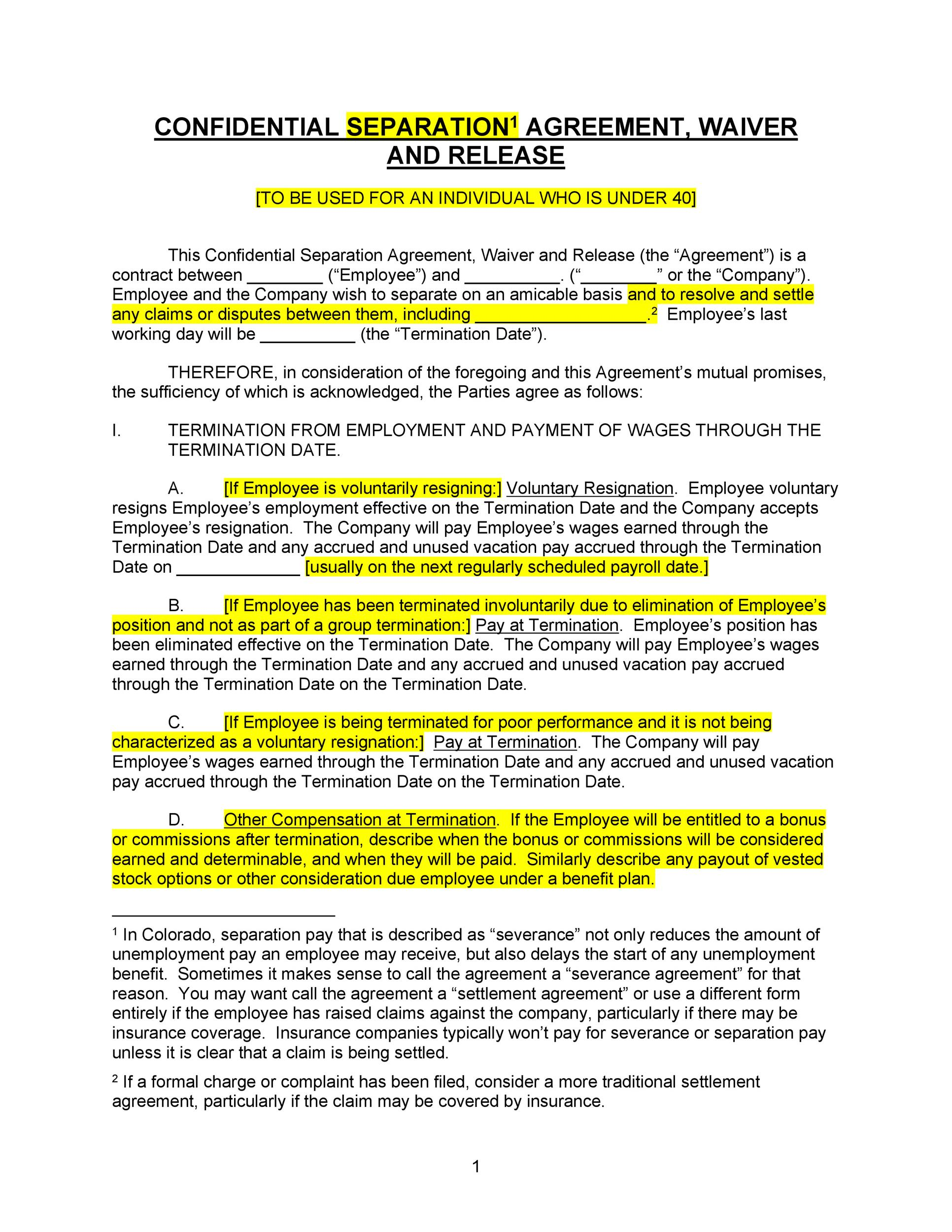 Free Separation Agreement Template 09