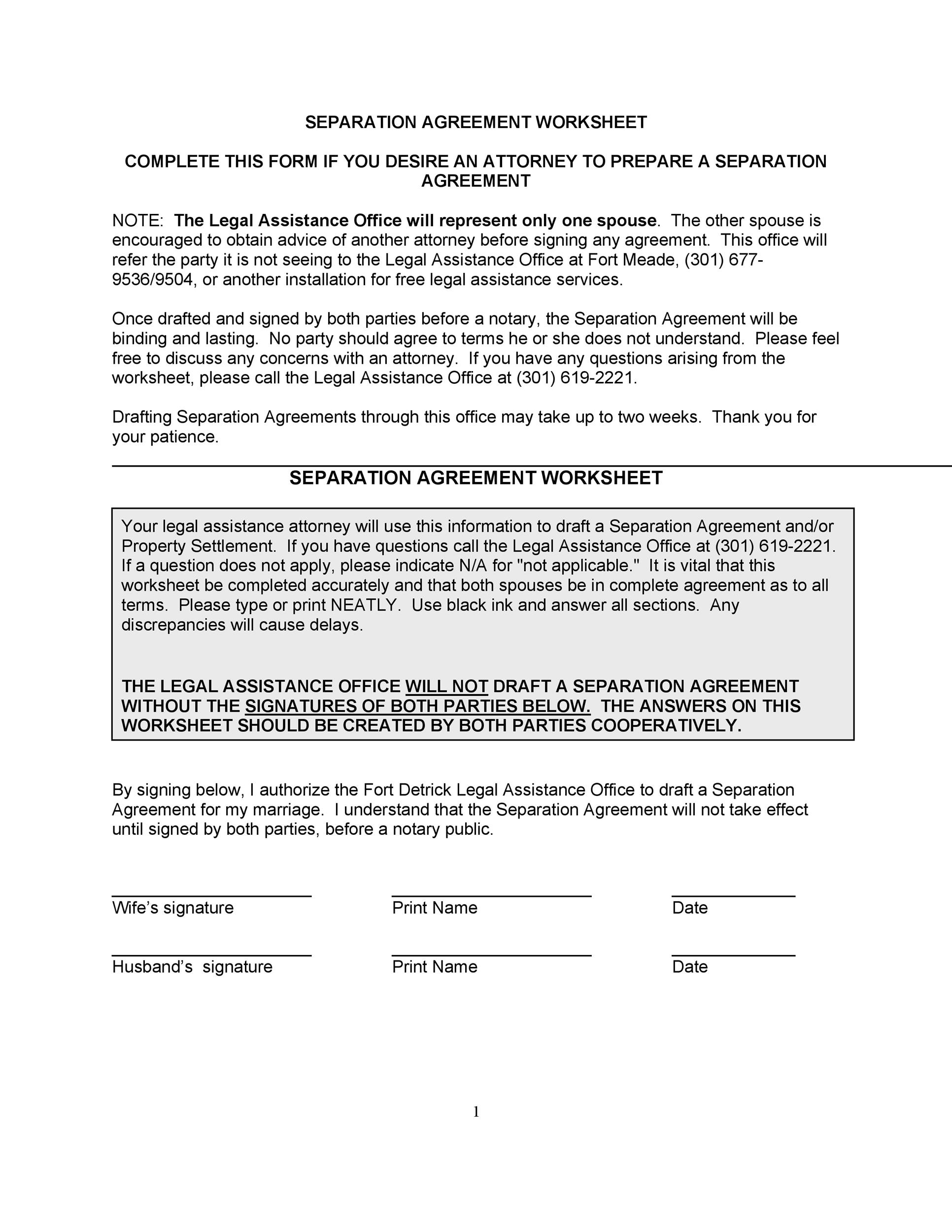 Nc legal separation agreement