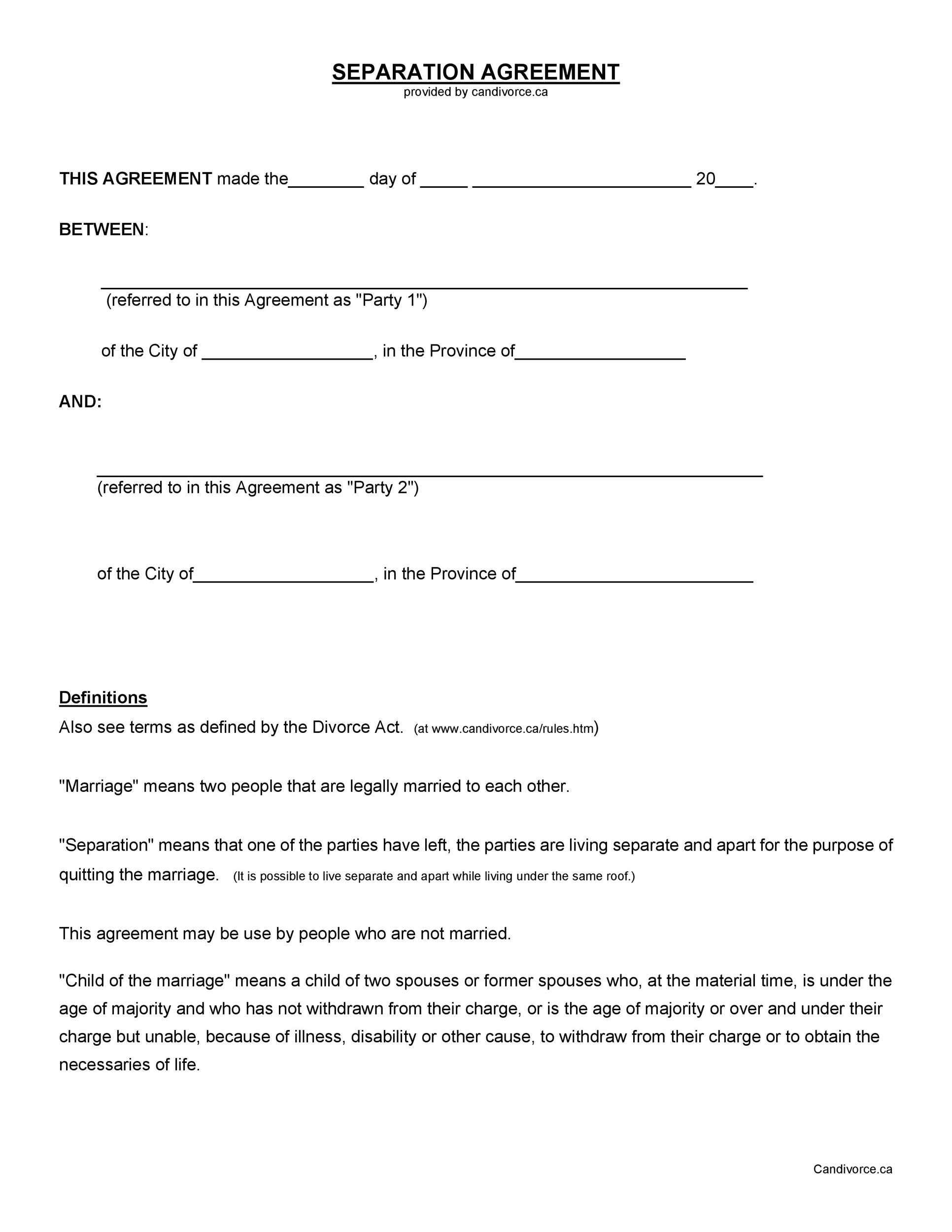 Printable Divorce Papers: 43 Official Separation Agreement Templates / Letters