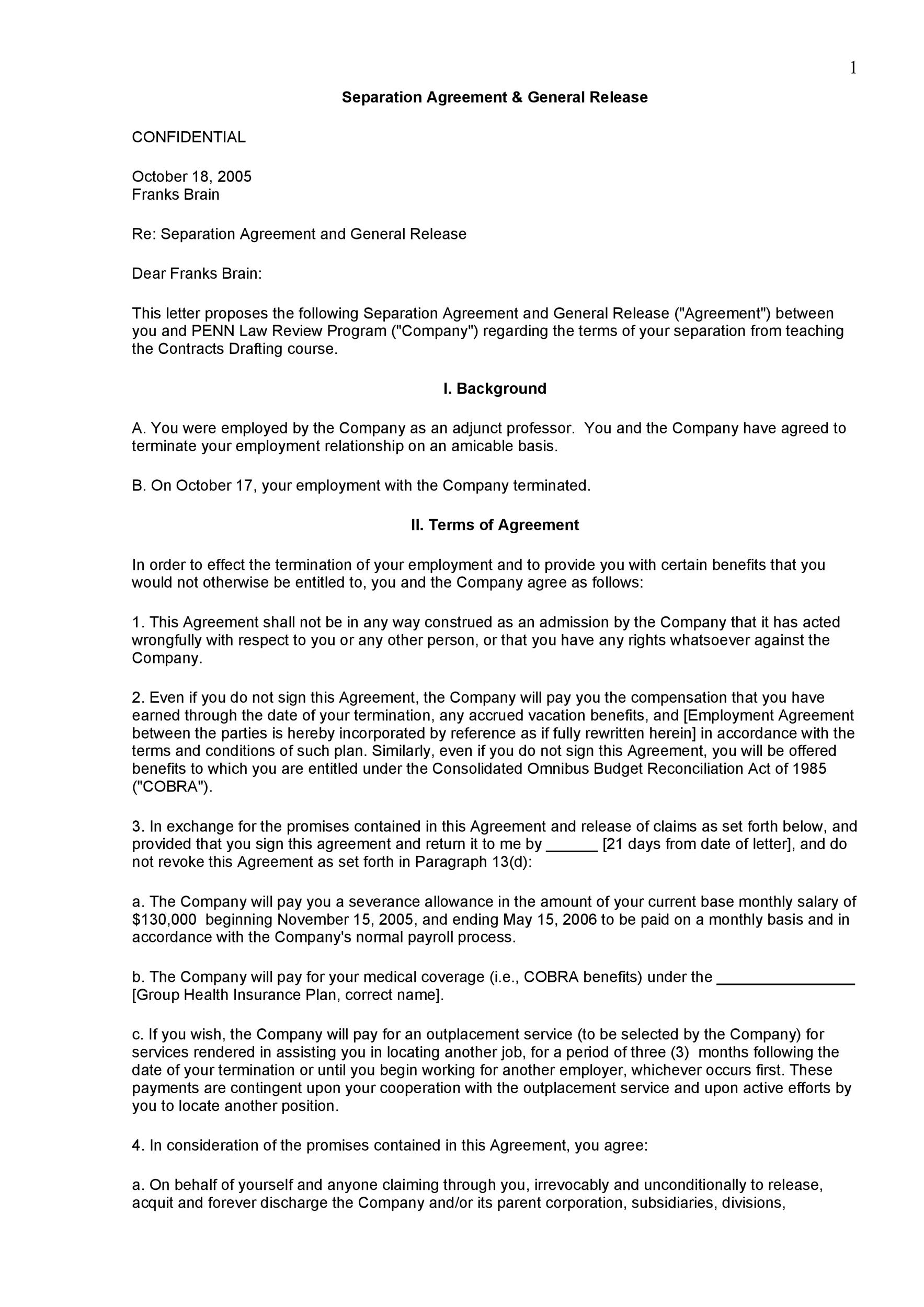 Free Separation Agreement Template 20