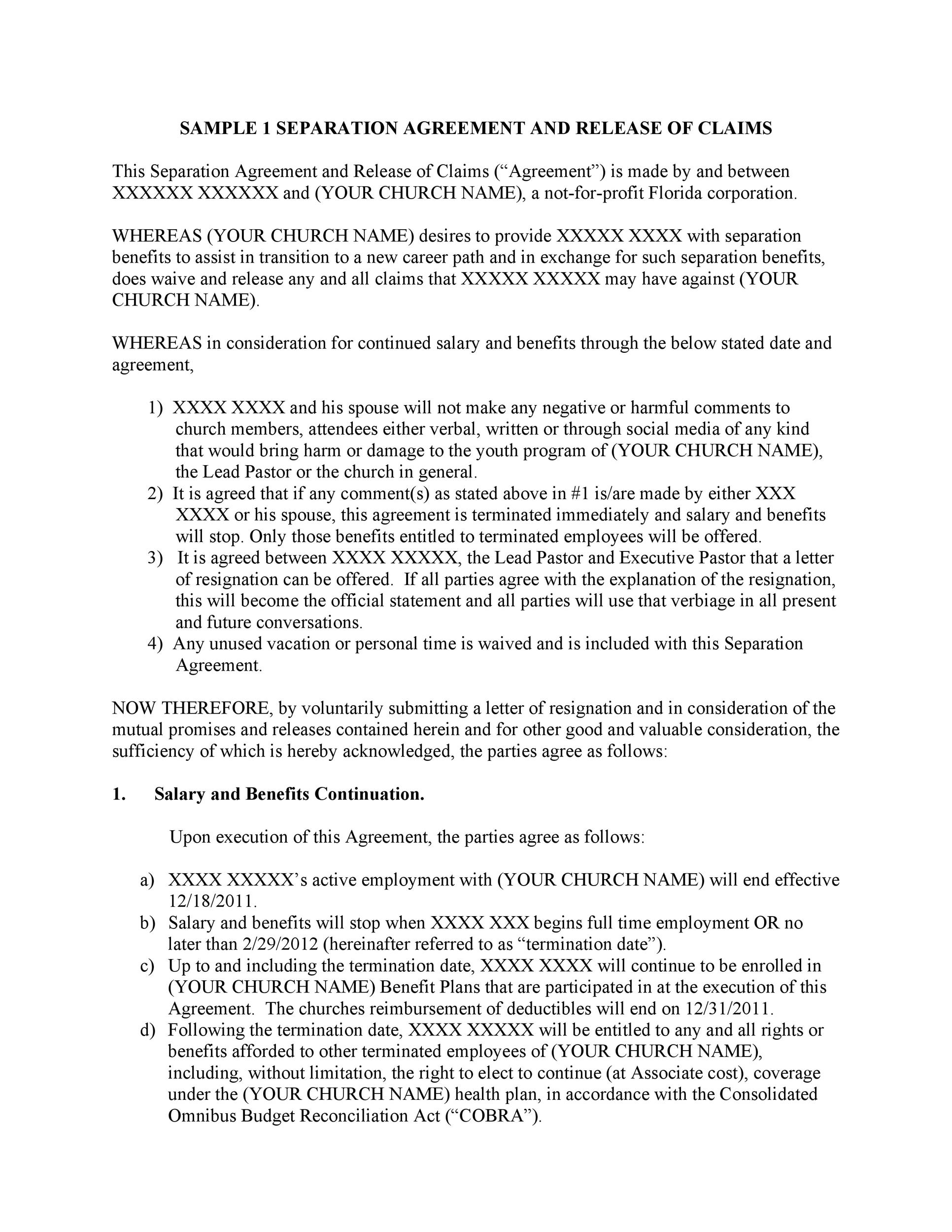 Free Separation Agreement Template 21