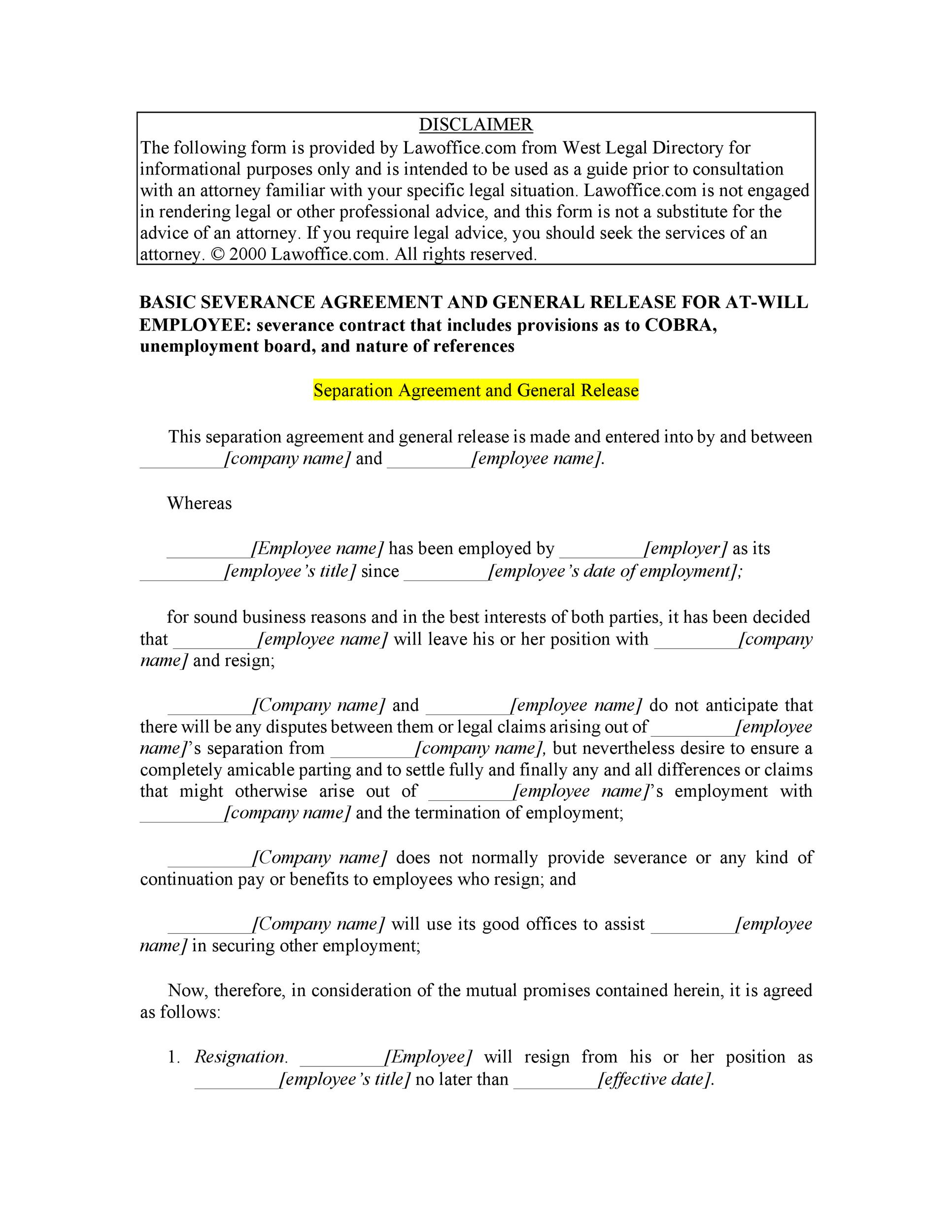 Free Separation Agreement Template 27