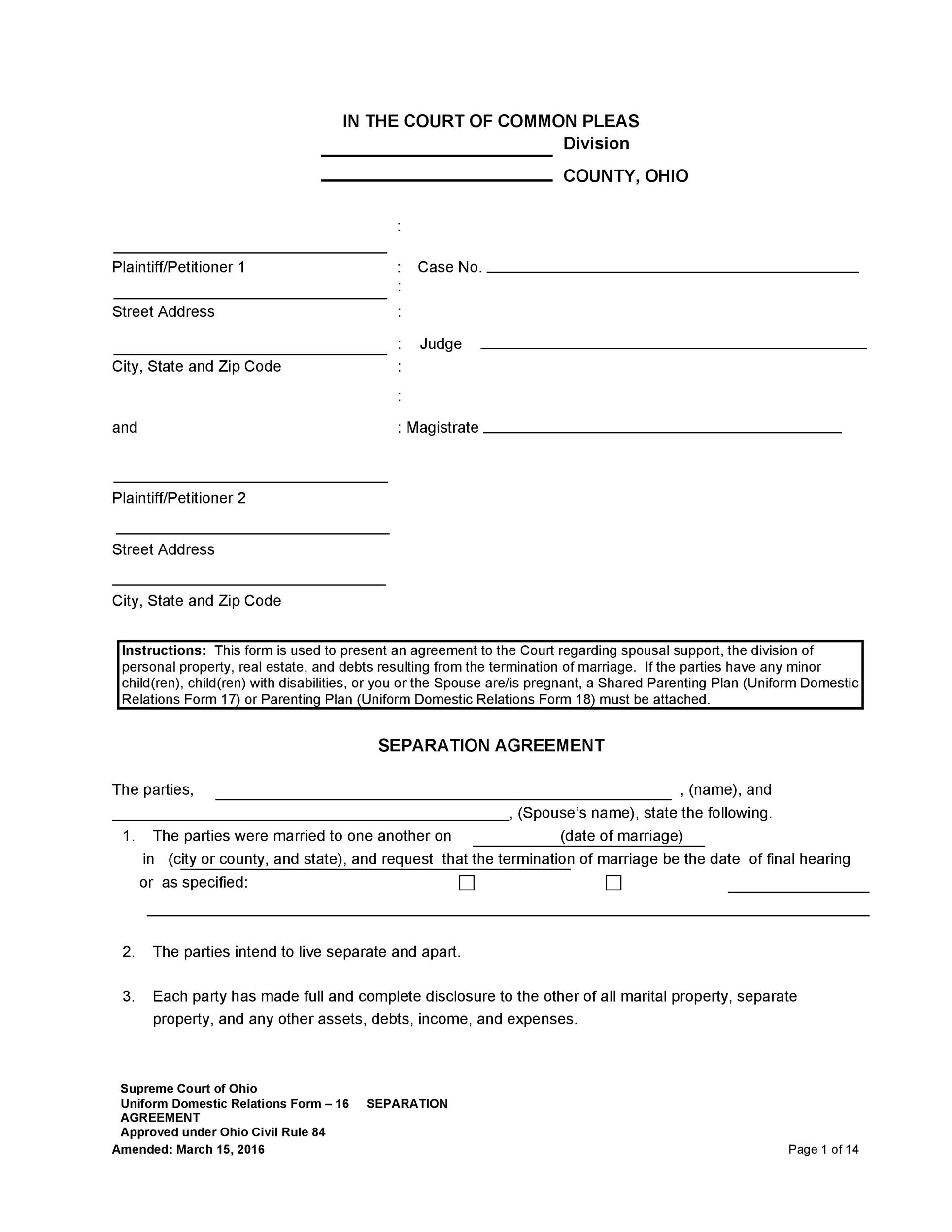 Free Separation Agreement Template 29