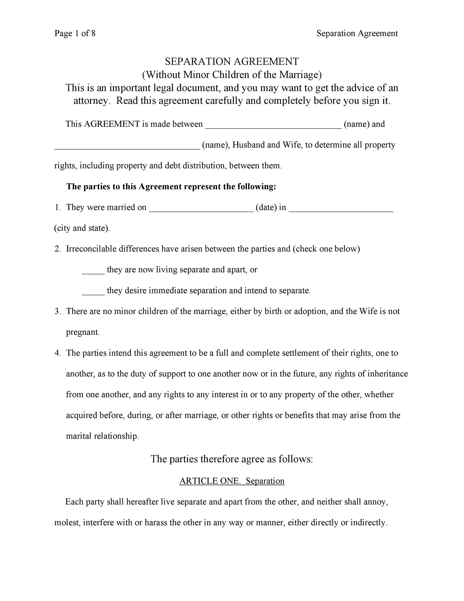Free Separation Agreement Template 30