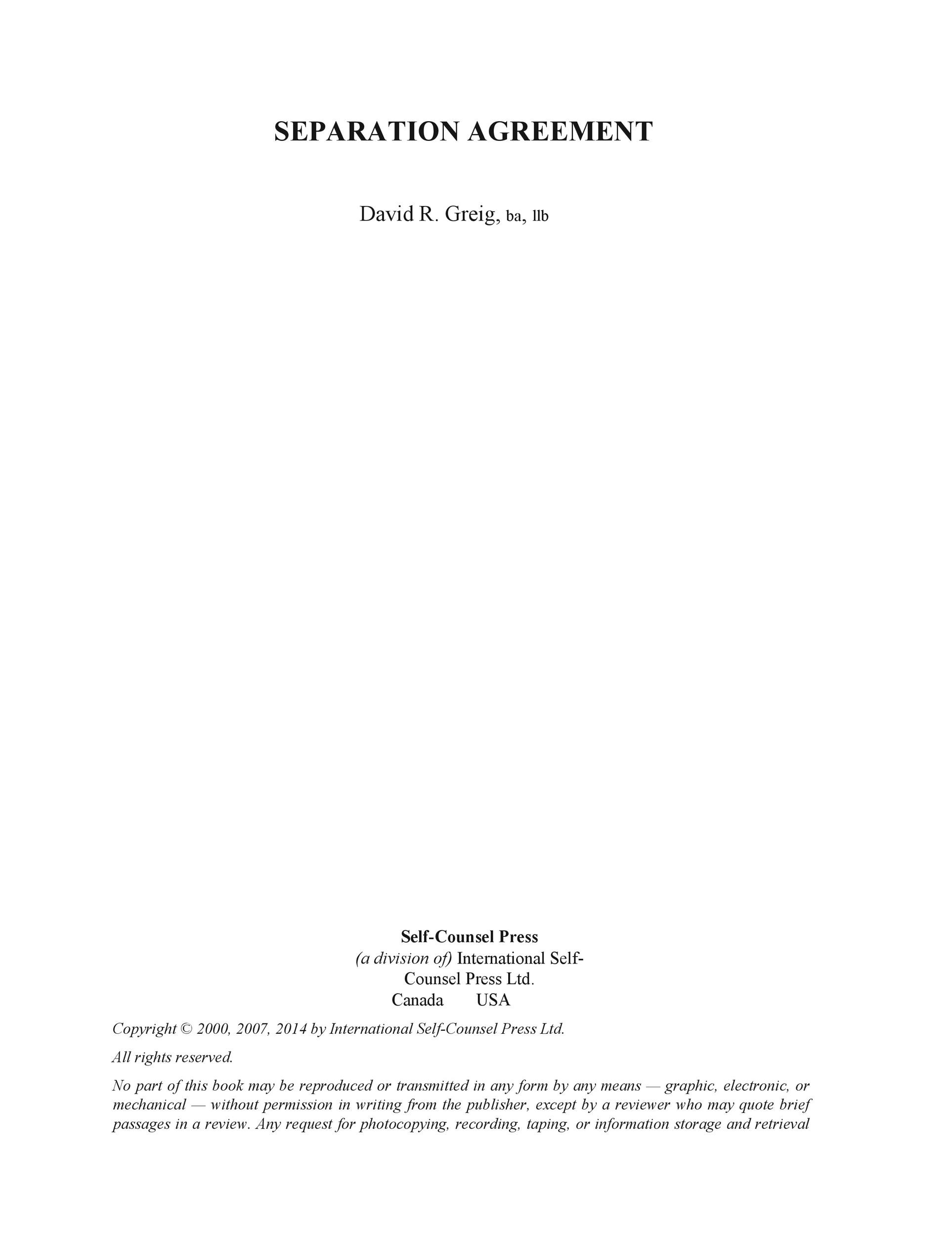 Free Separation Agreement Template 33