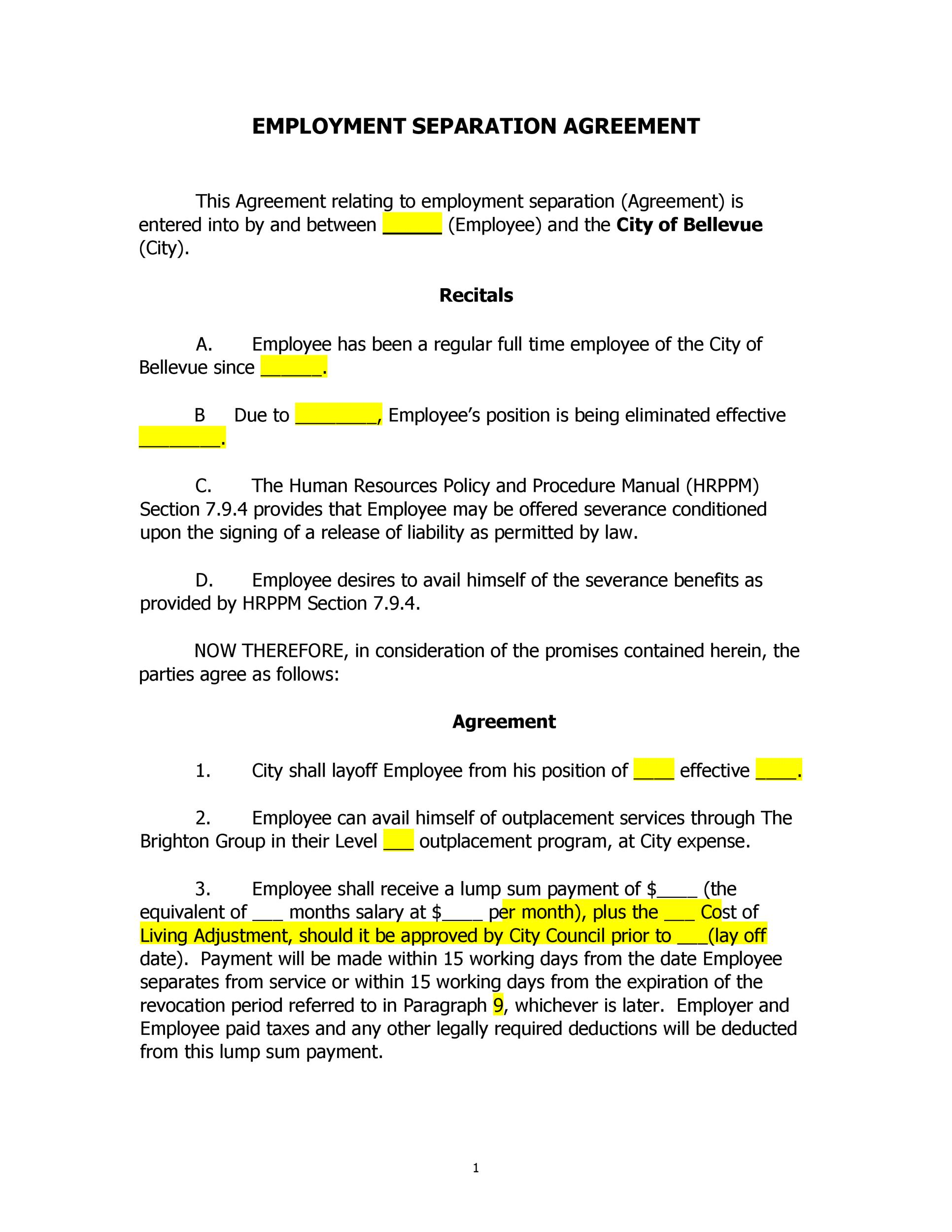Free Separation Agreement Template 38