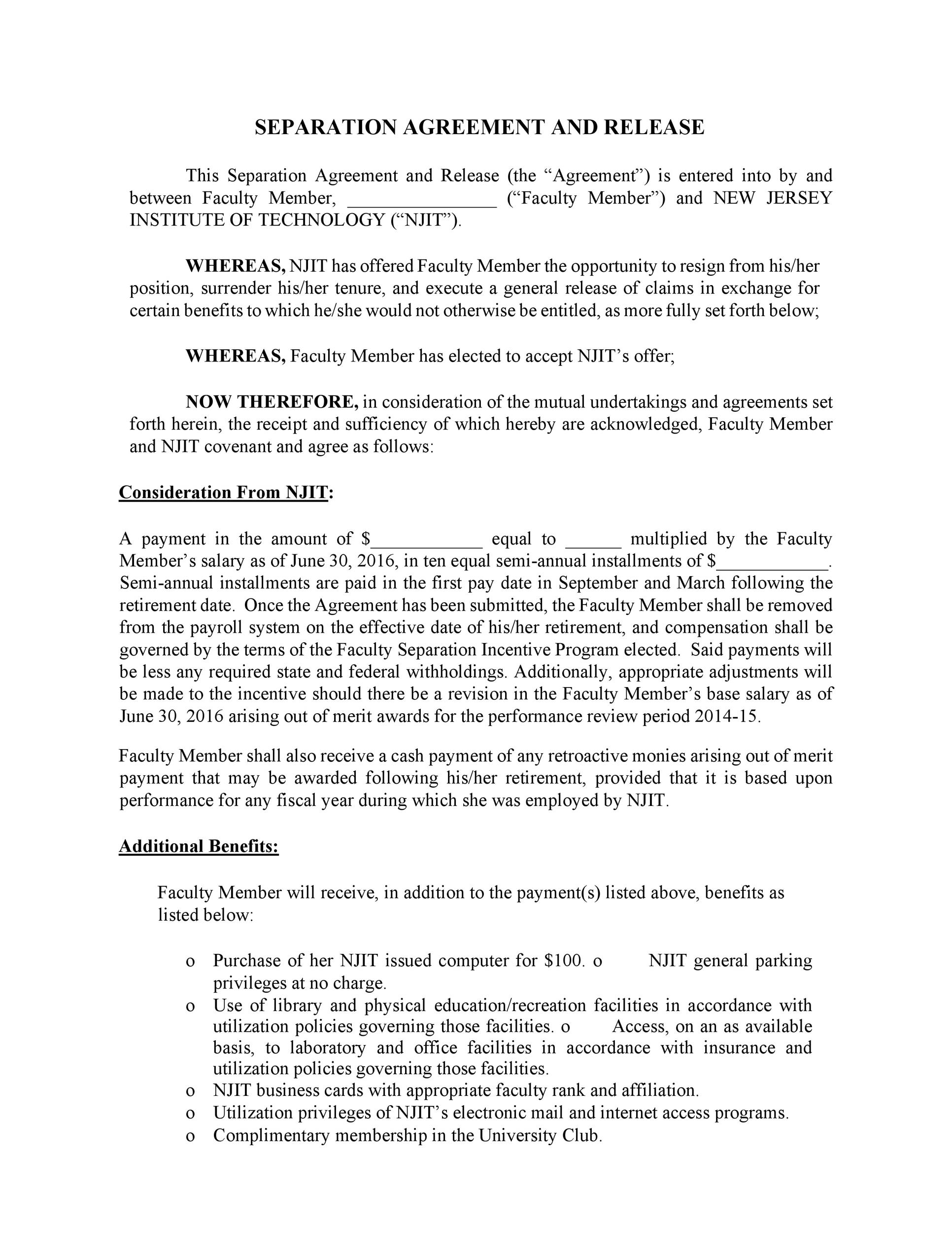Free Separation Agreement Template 41