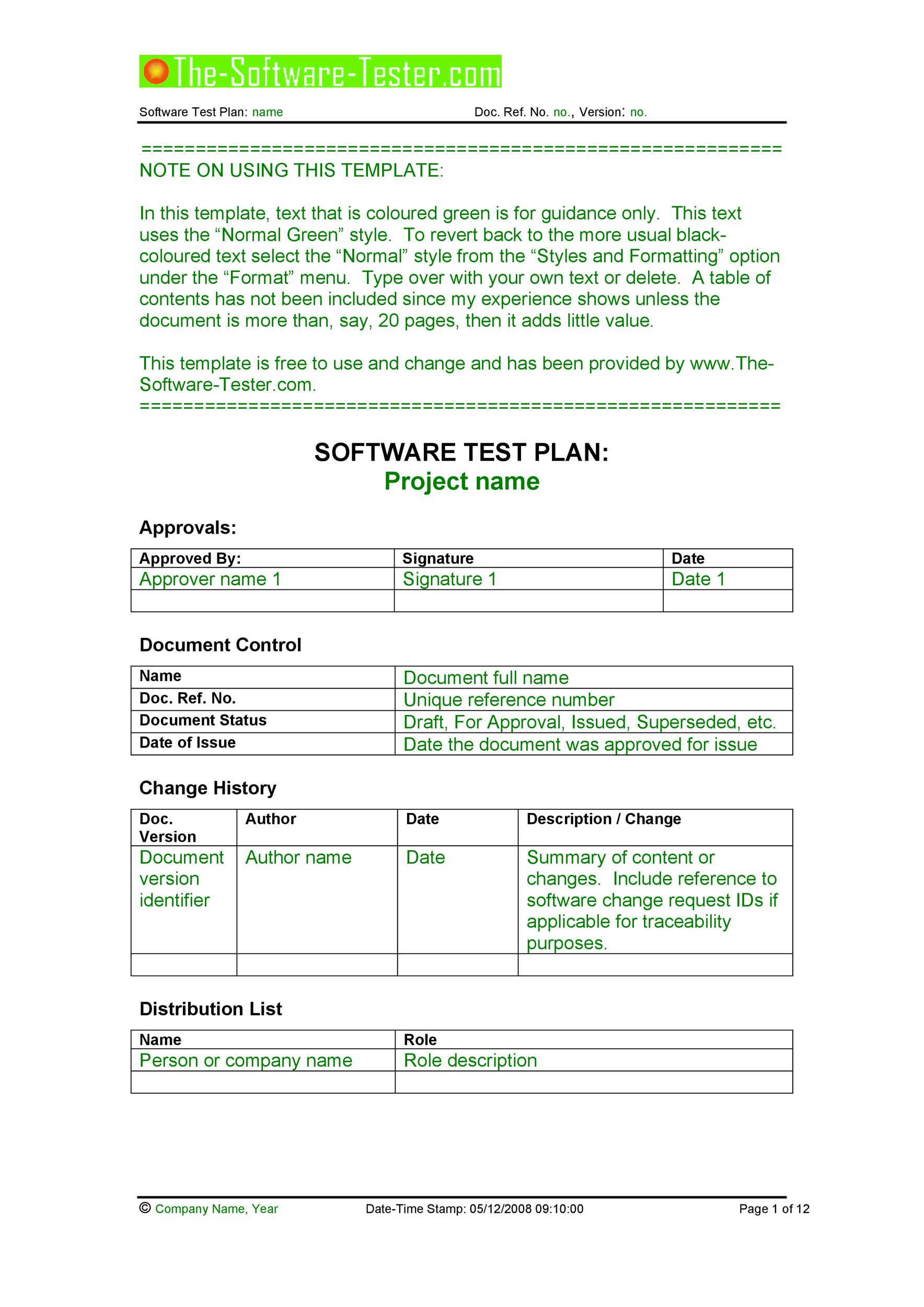 Free Test Plan Template 02