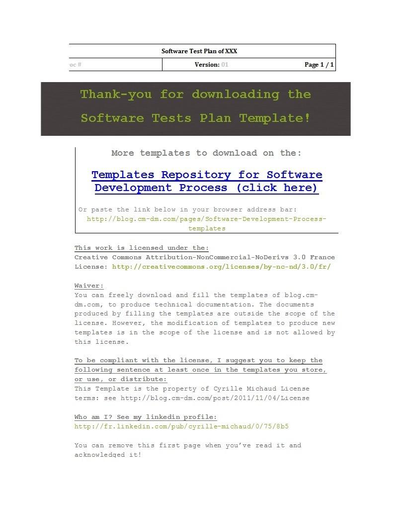 Free Test Plan Template 03