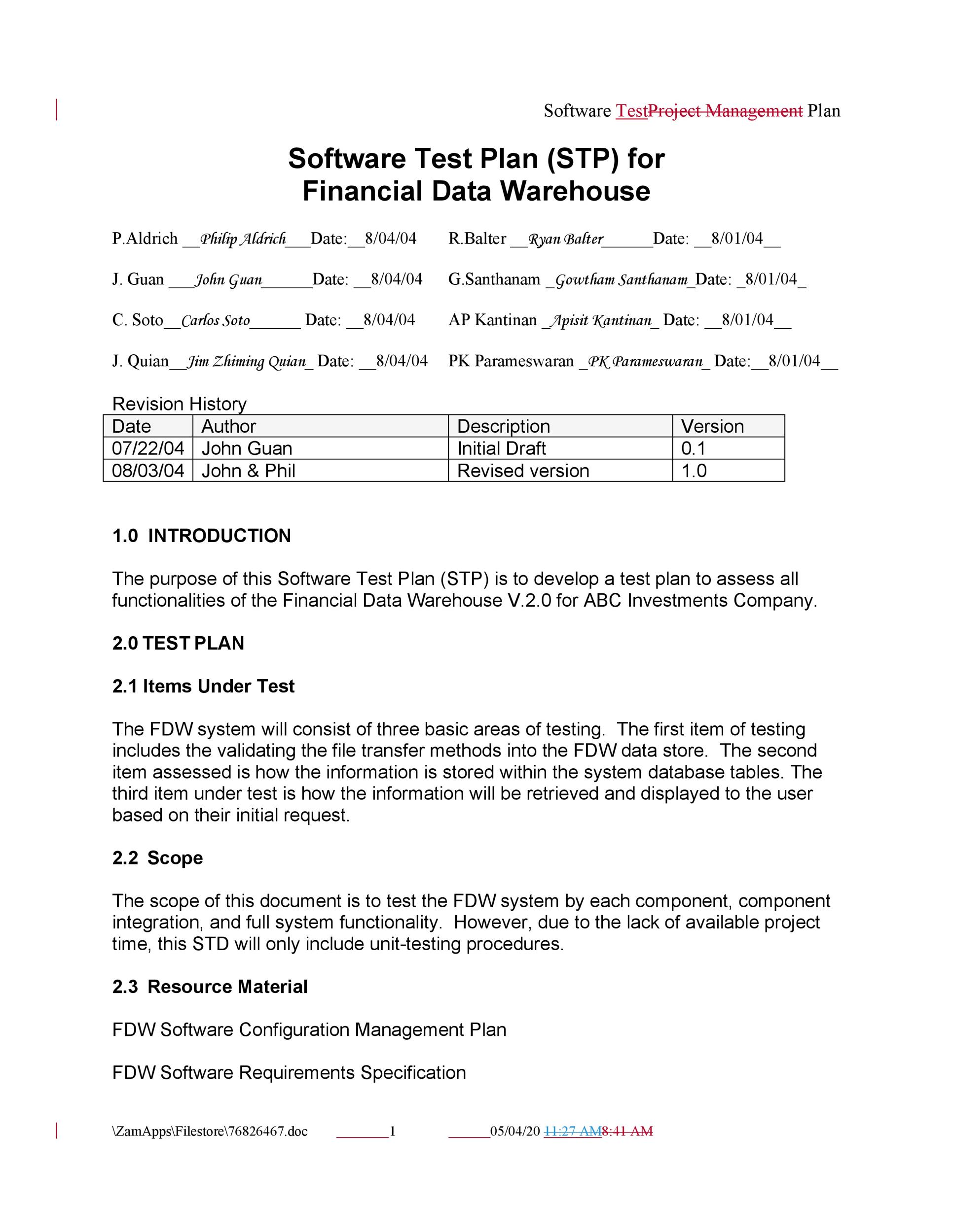 Free Test Plan Template 04