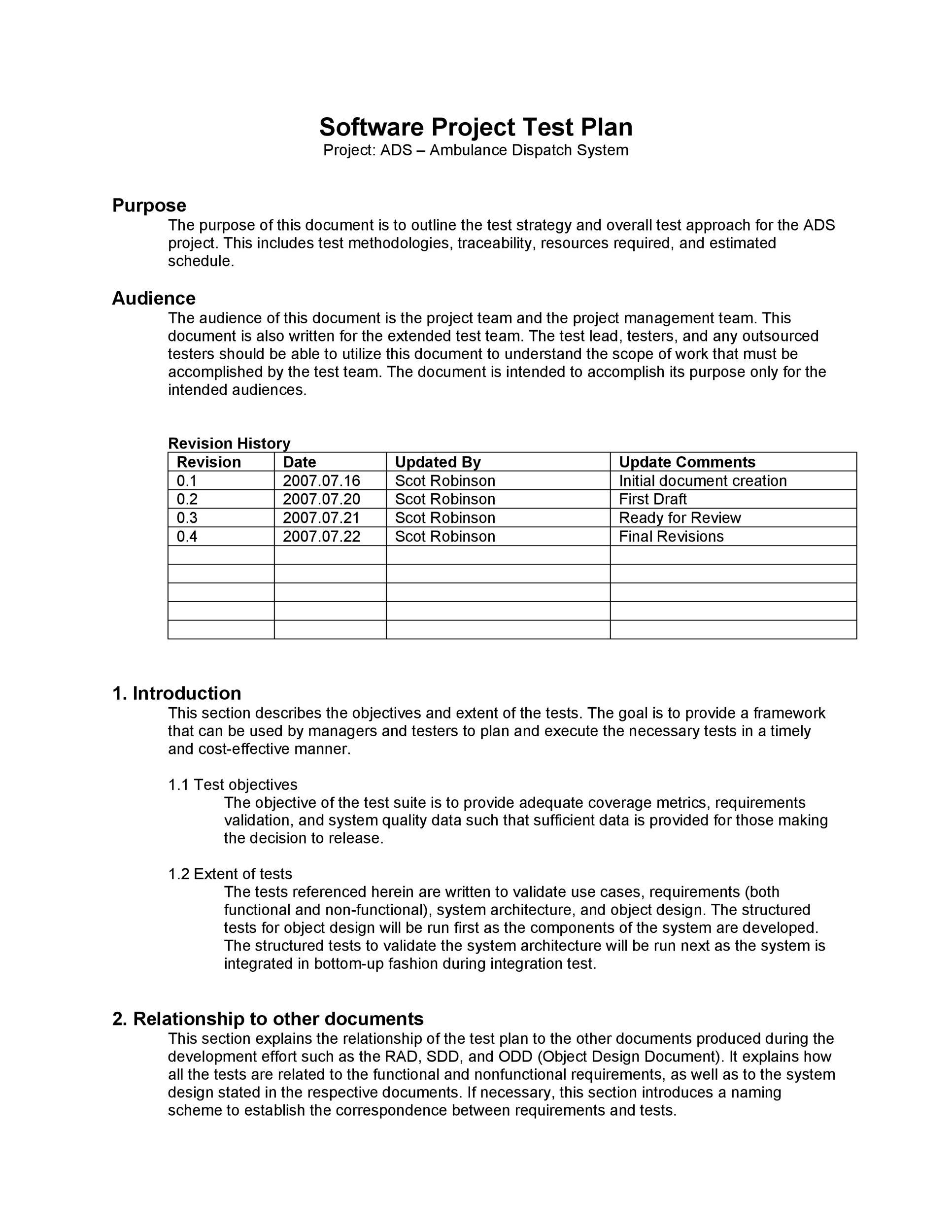 Free Test Plan Template 14
