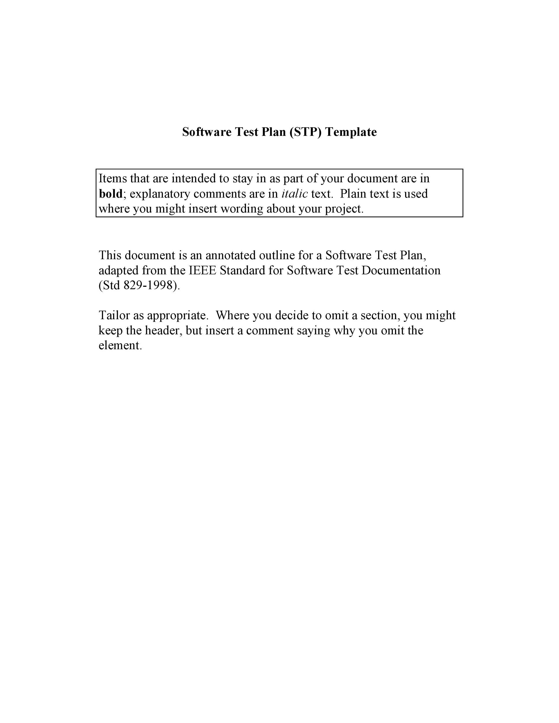 Free Test Plan Template 18