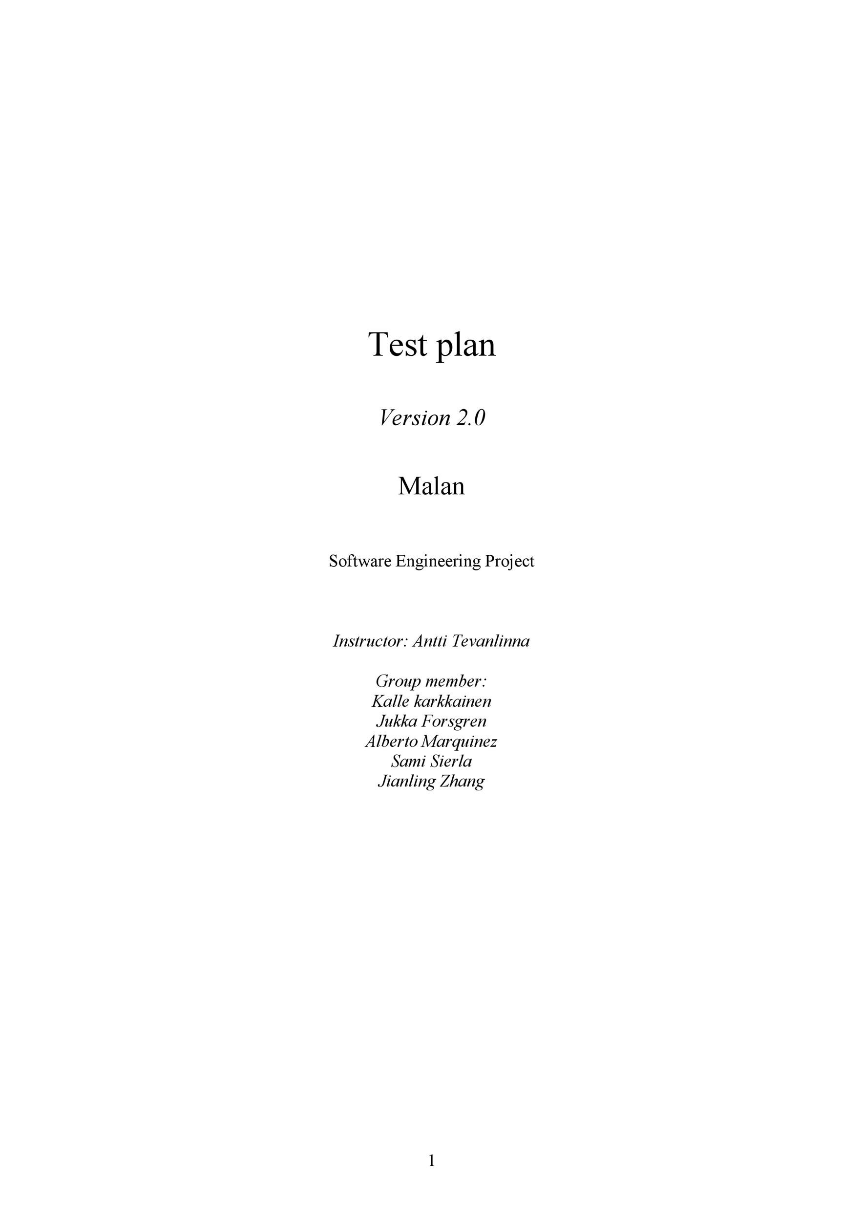Free Test Plan Template 19