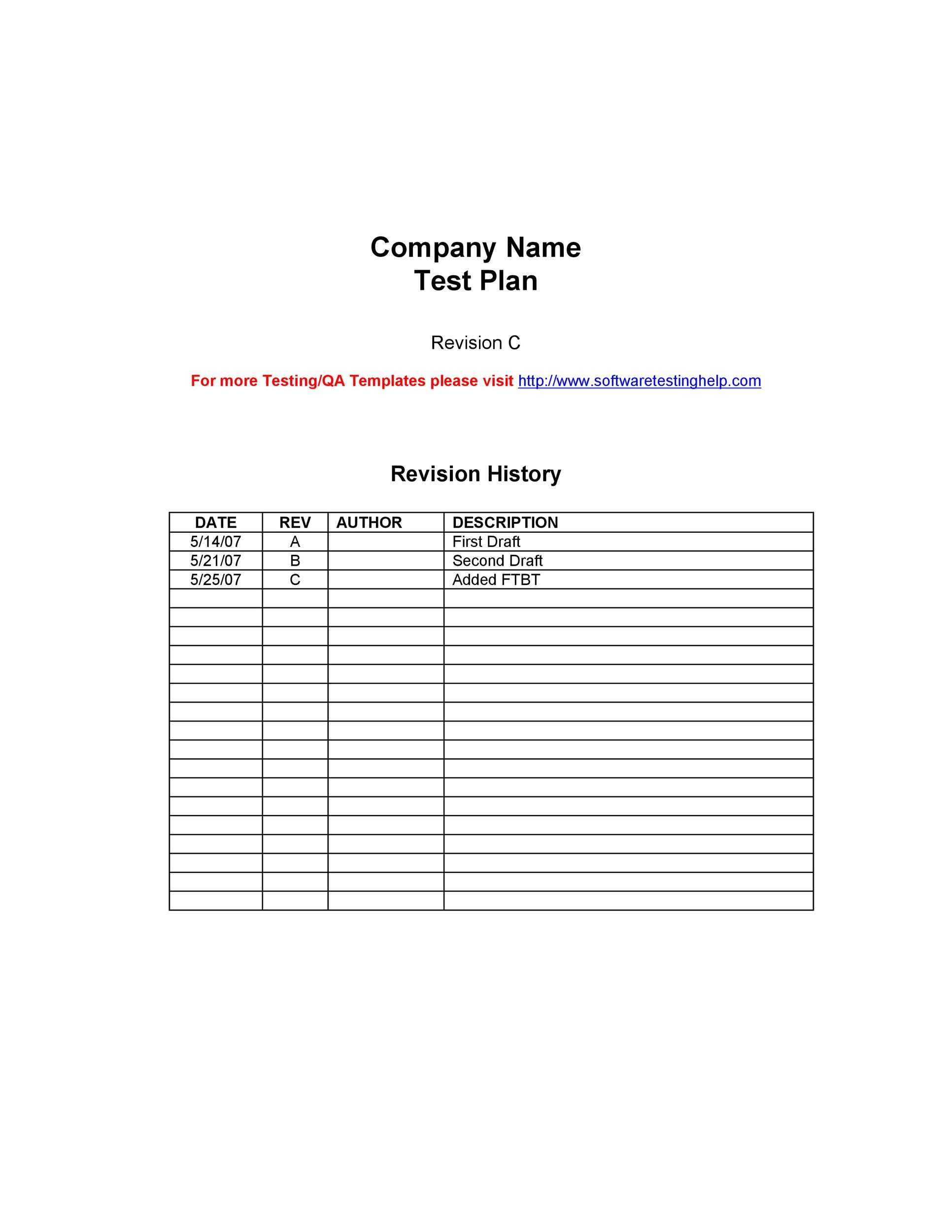Free Test Plan Template 23