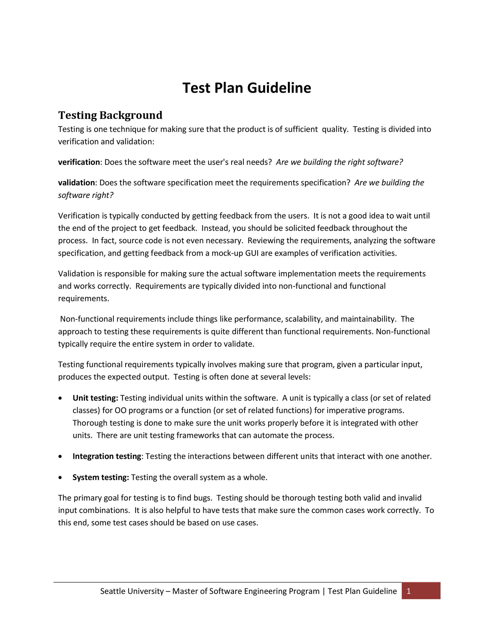 Free Test Plan Template 24