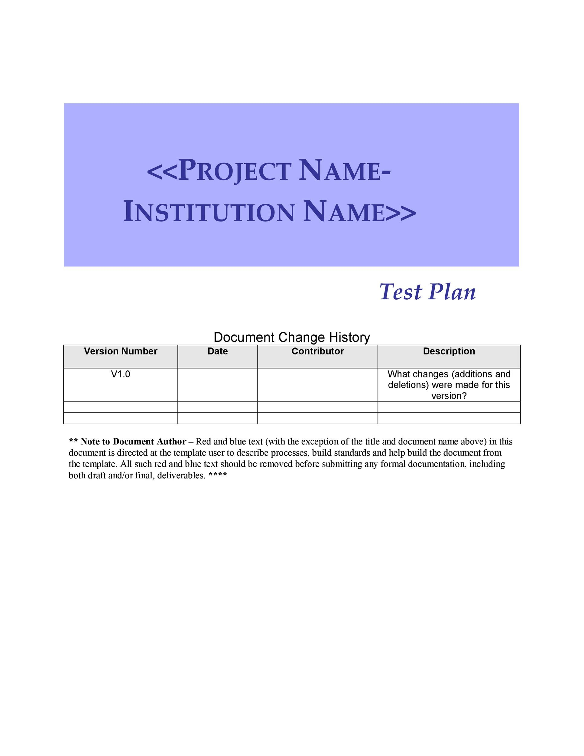 Free Test Plan Template 28