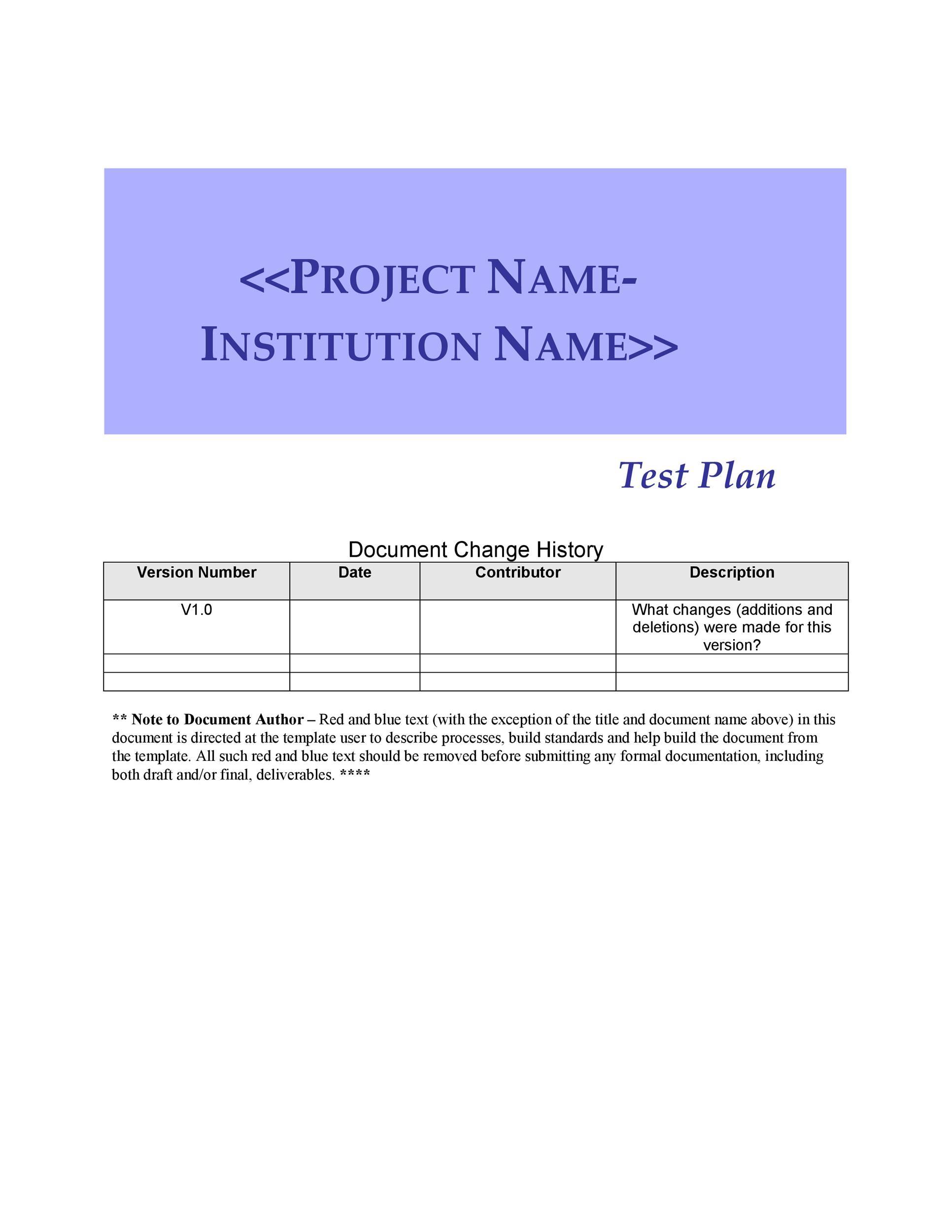 Free Test Plan Template 28