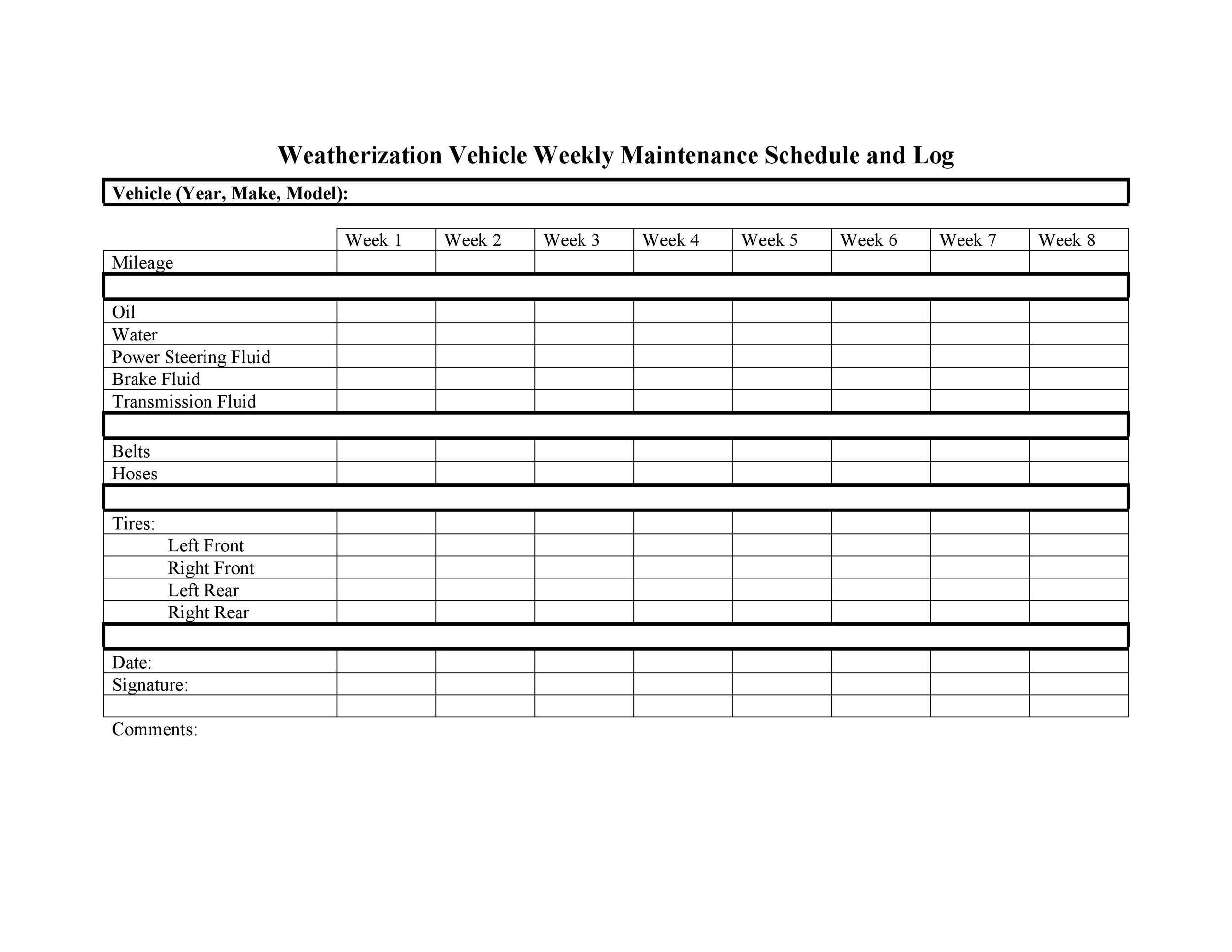 Free Vehicle Maintenance Log Template 01