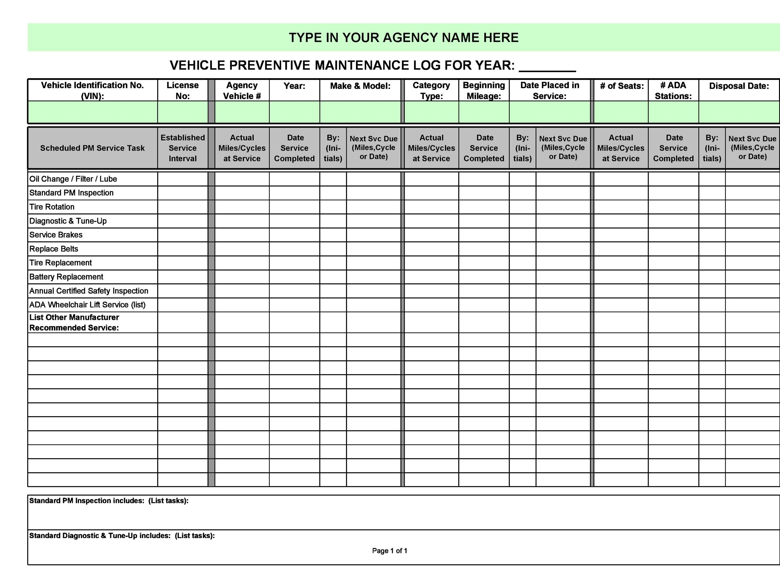 equipment procedure check equipment service log log template