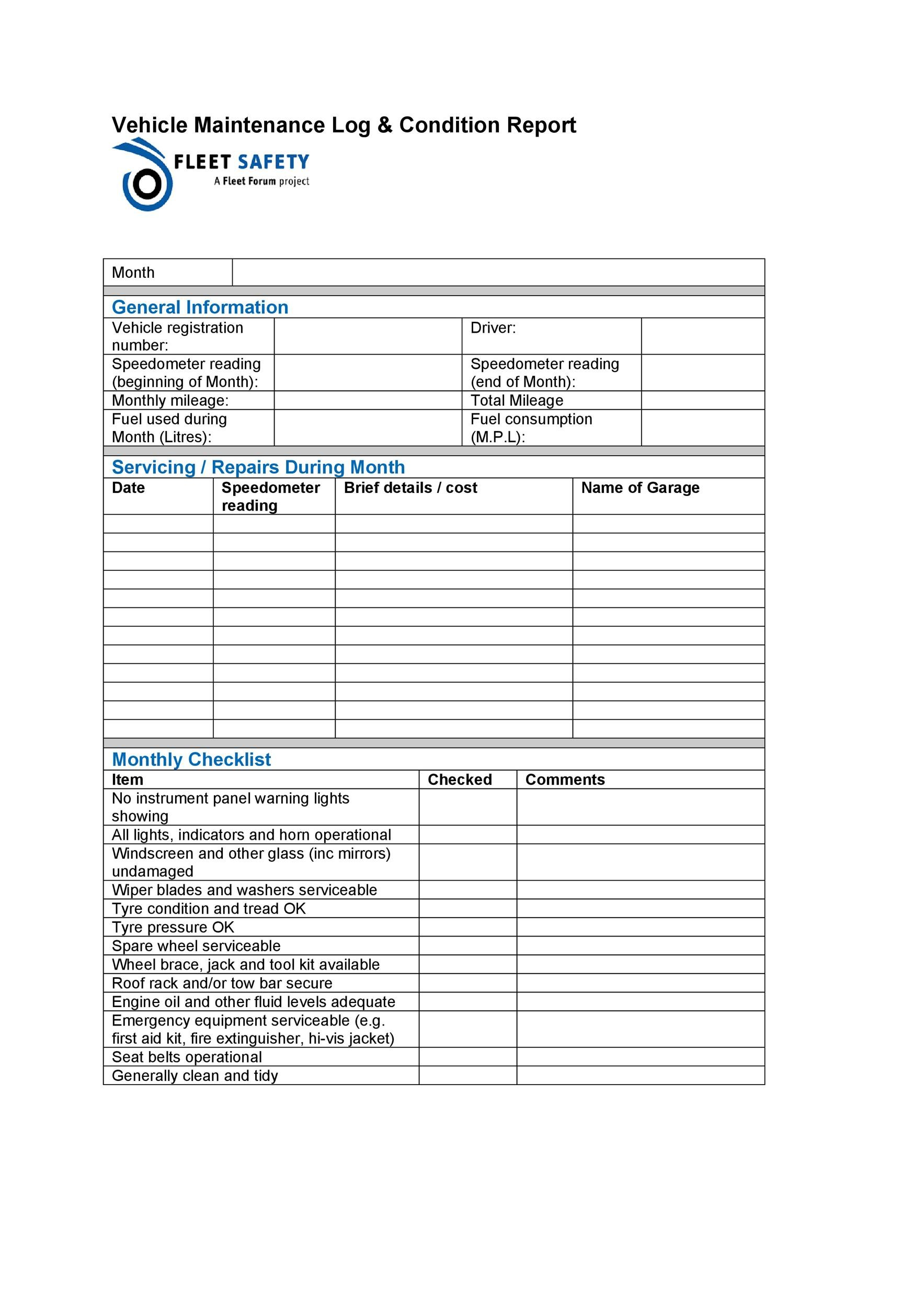 Free Vehicle Maintenance Log Template 05