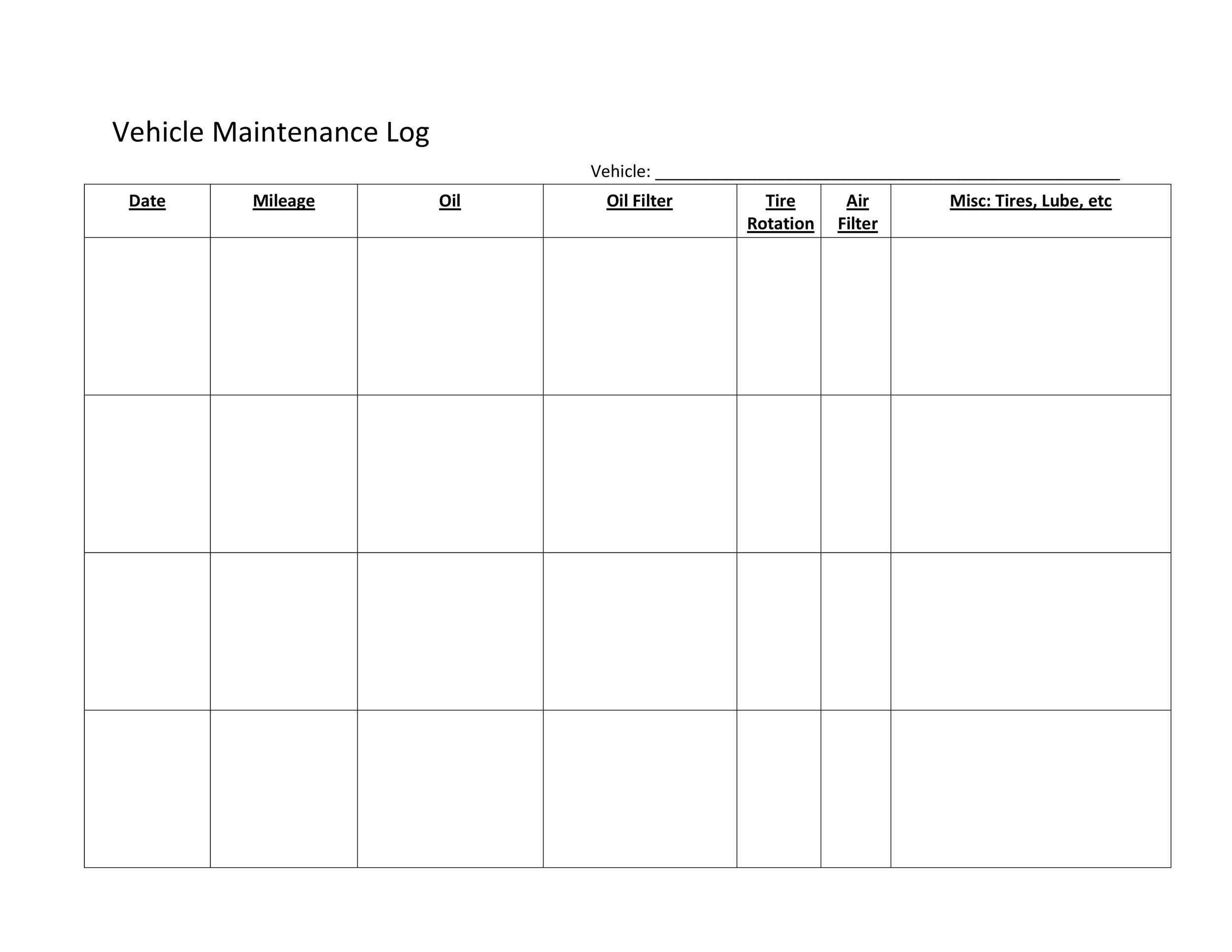 Free Vehicle Maintenance Log Template 09