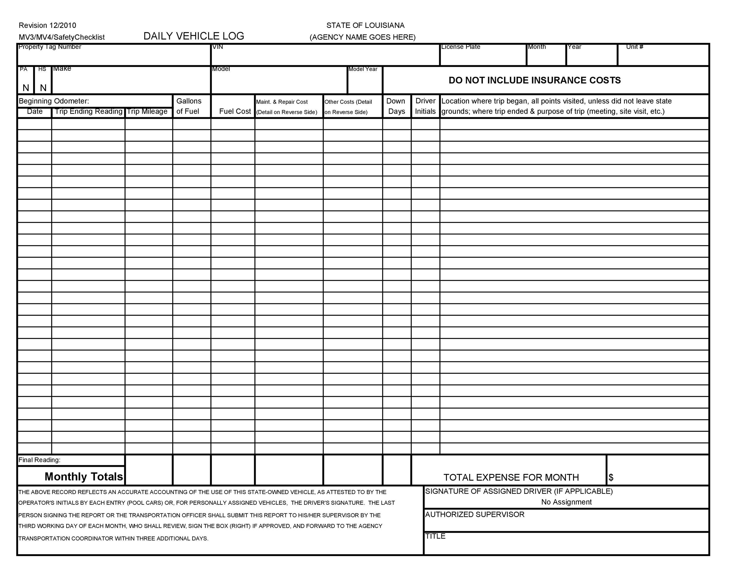 Free Vehicle Maintenance Log Template 10