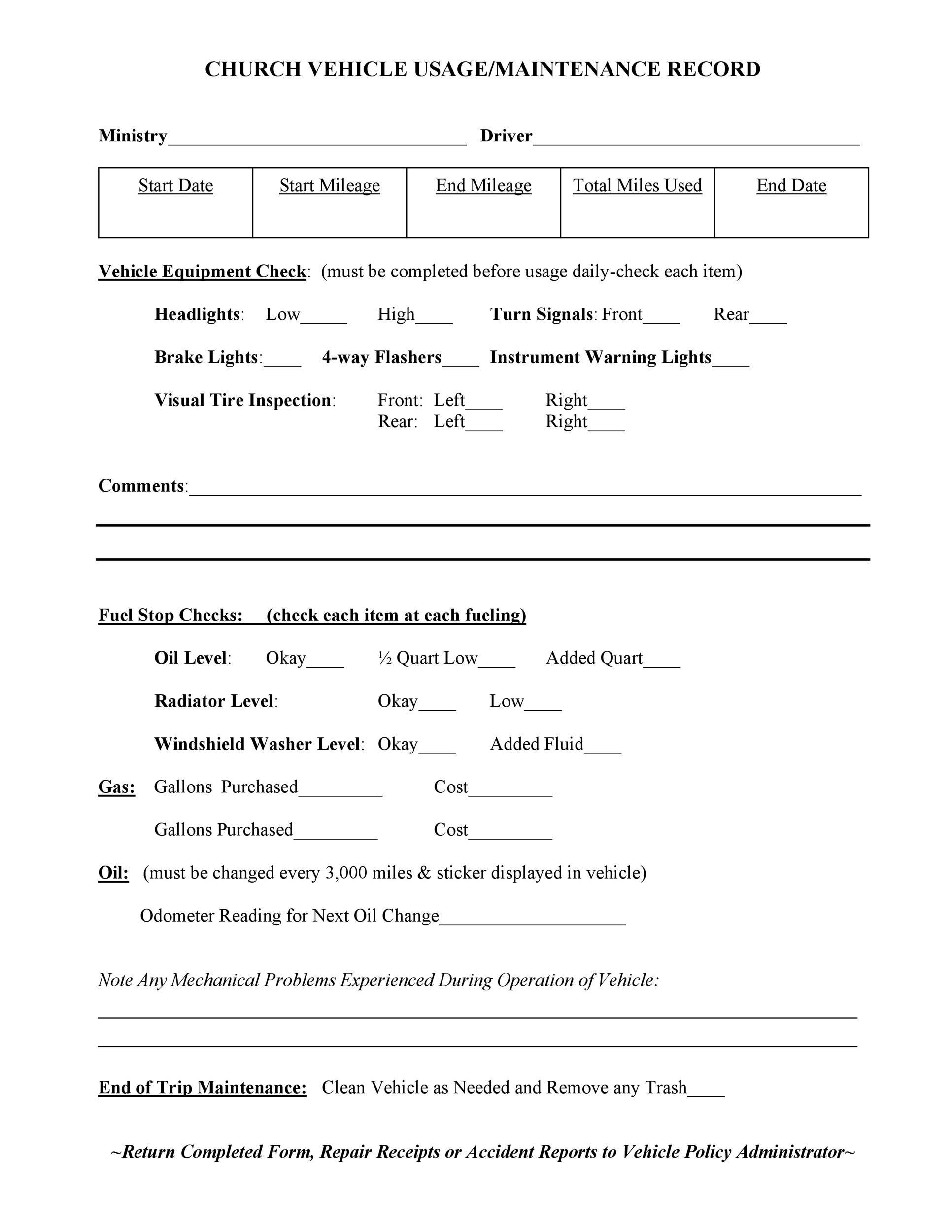 40 printable vehicle maintenance log templates template lab