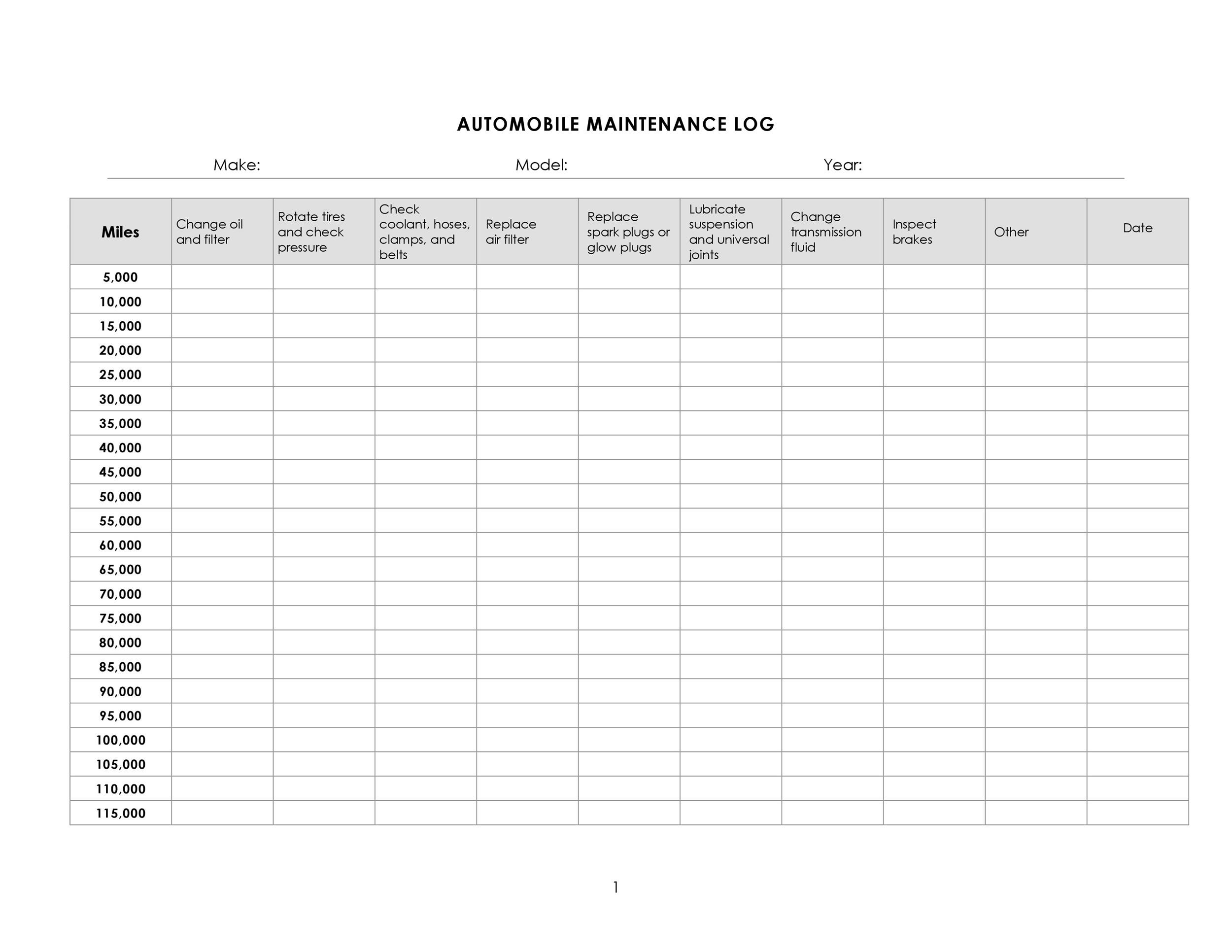 Free Vehicle Maintenance Log Template 17