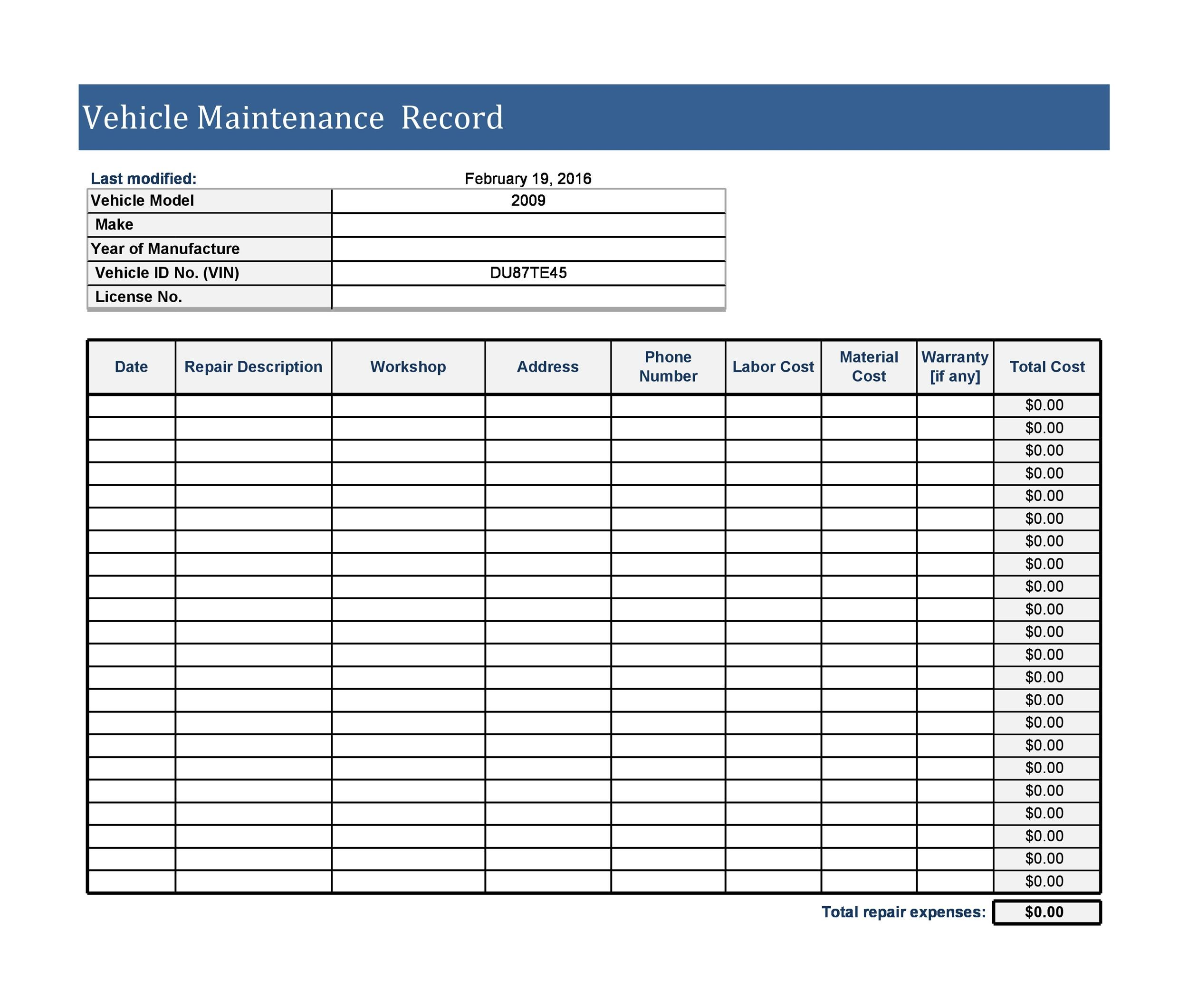 Free Vehicle Maintenance Log Template 18