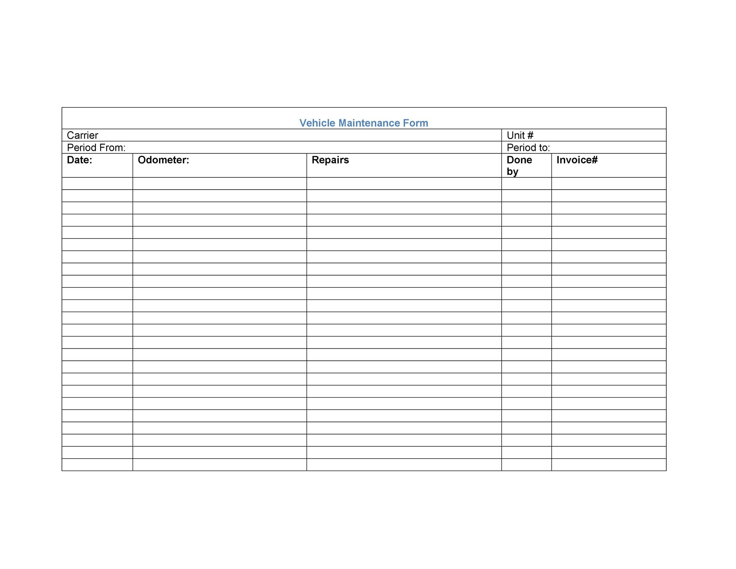 Free Vehicle Maintenance Log Template 19