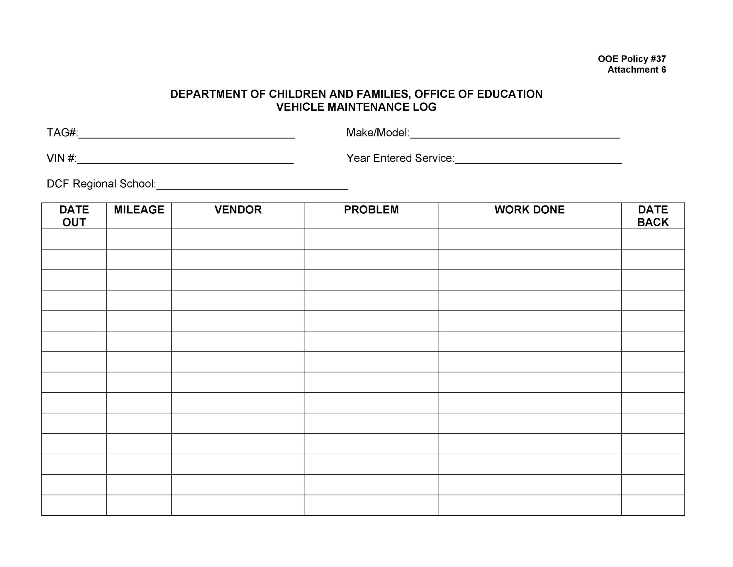 Free Vehicle Maintenance Log Template 21