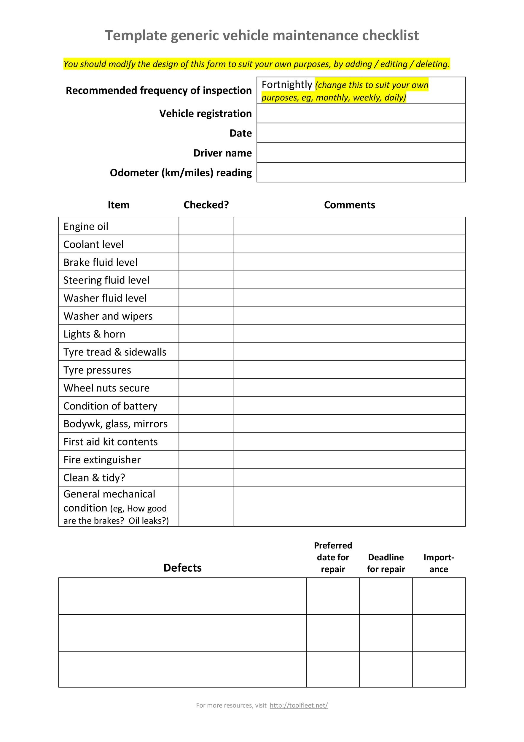 Free Vehicle Maintenance Log Template 23