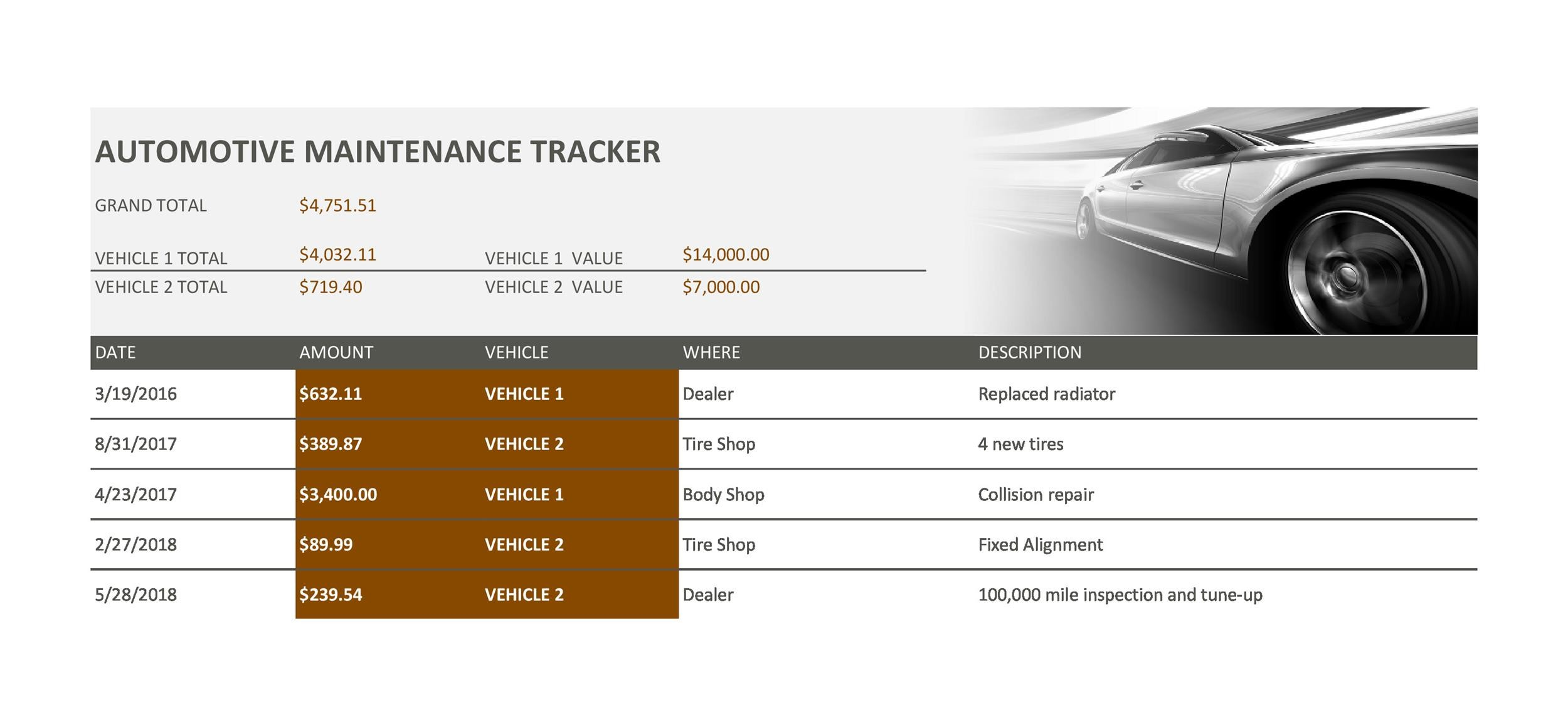 Free Vehicle Maintenance Log Template 24