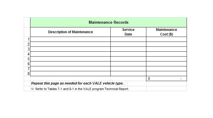 Free Vehicle Maintenance Log Template 25
