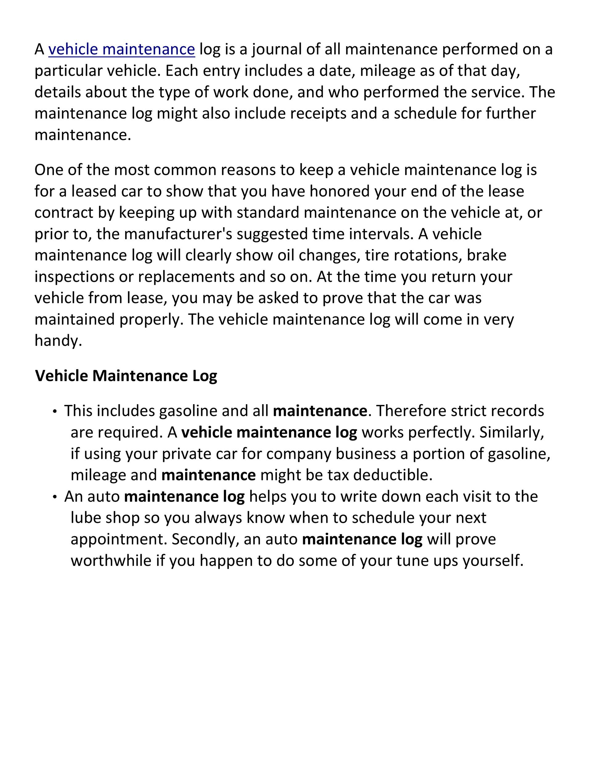 Free Vehicle Maintenance Log Template 29