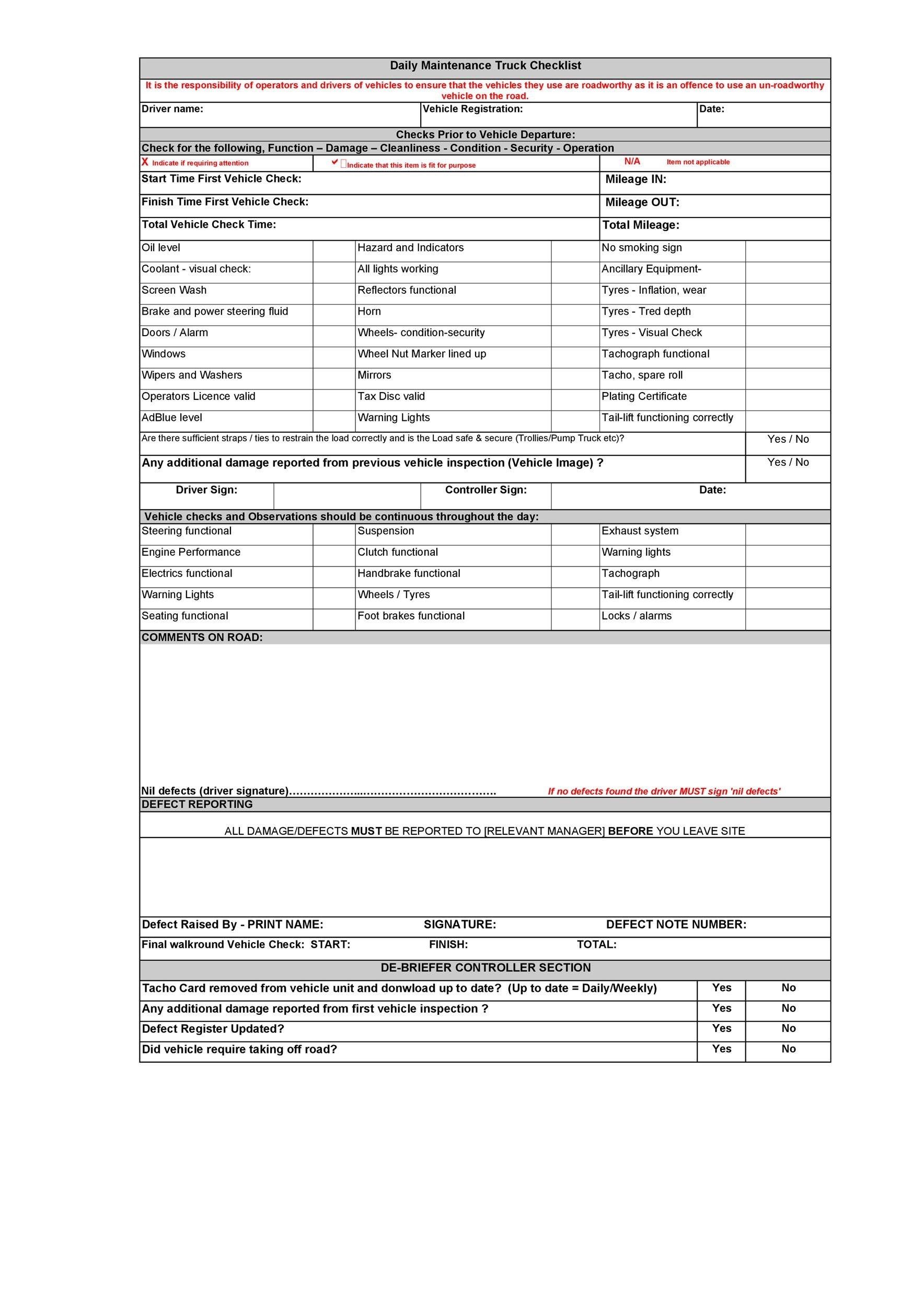 Free Vehicle Maintenance Log Template 34