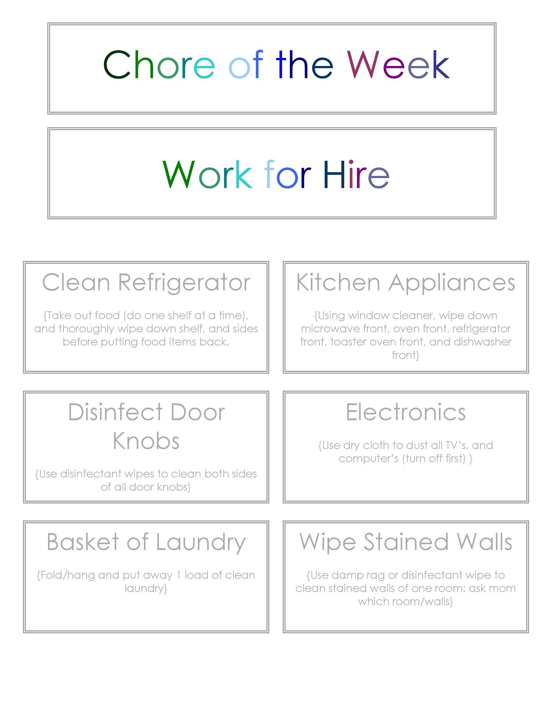 Free chore chart template 06