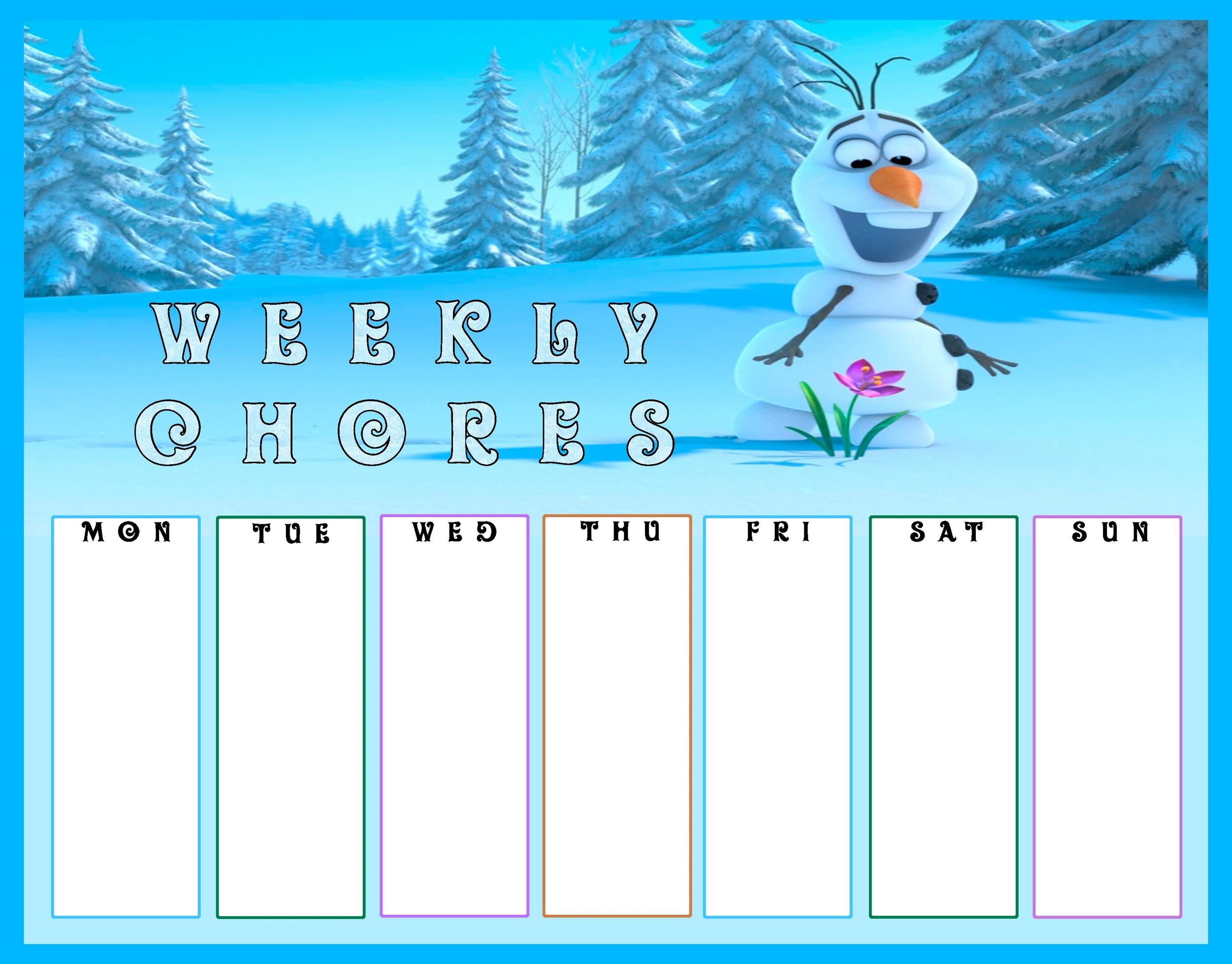 Free chore chart template 07