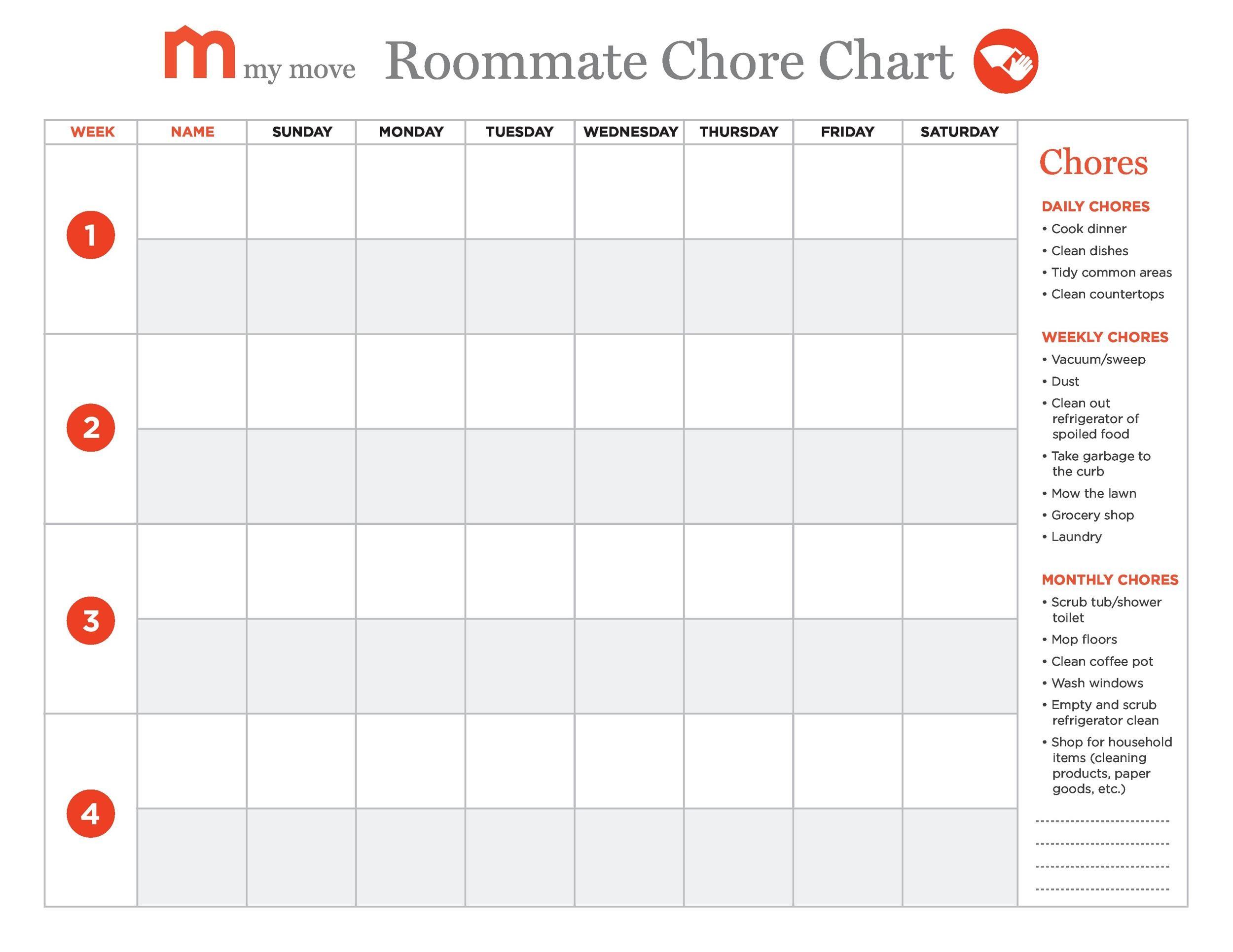 Free chore chart template 10