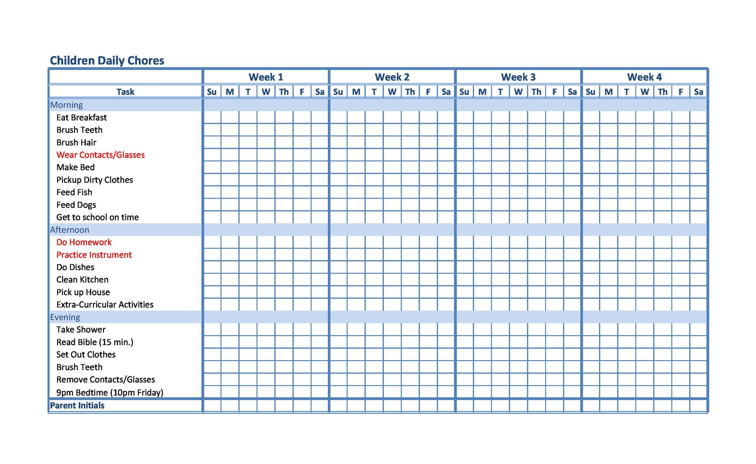 Free chore chart template 13