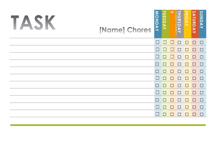 Free chore chart template 14