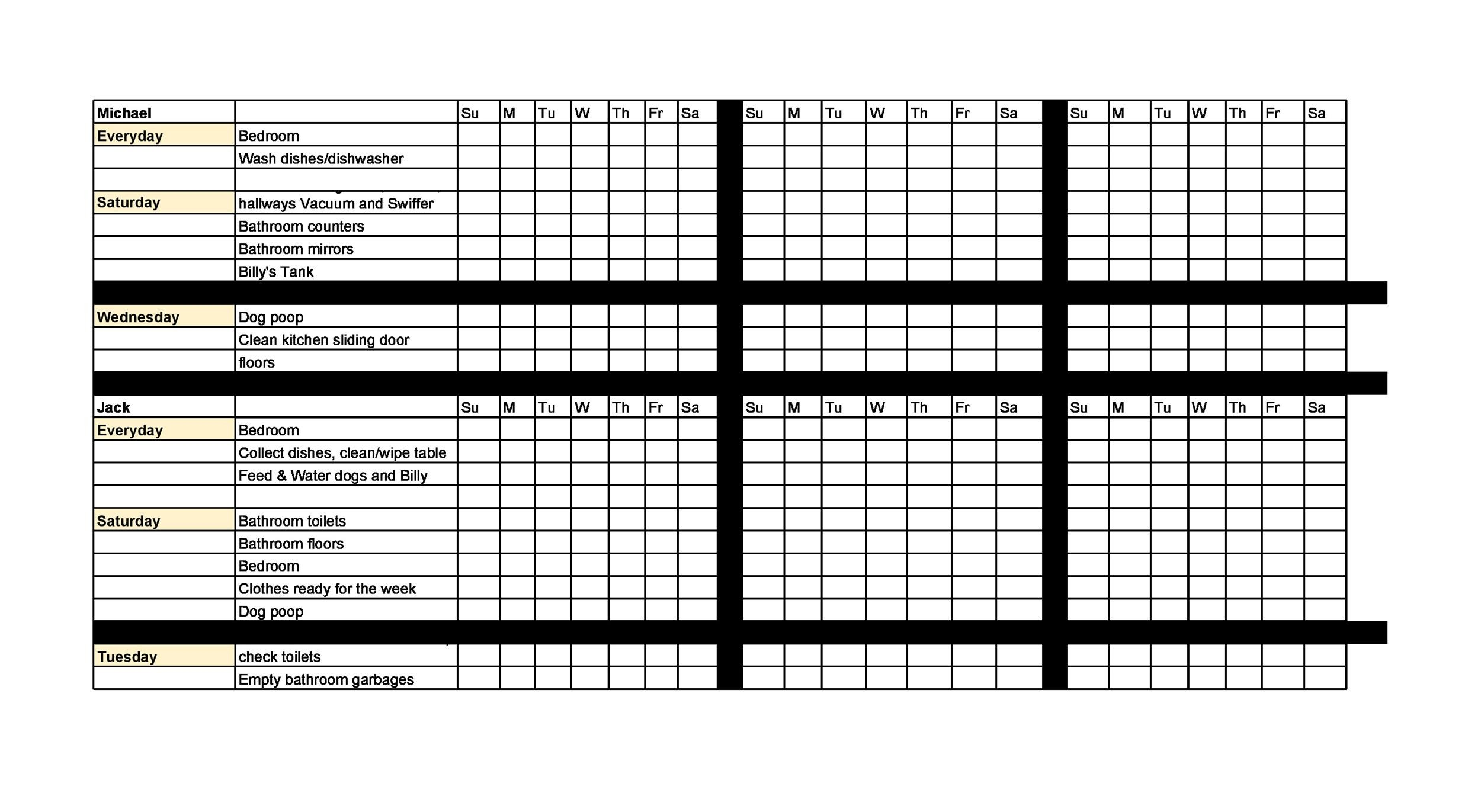 Free chore chart template 19